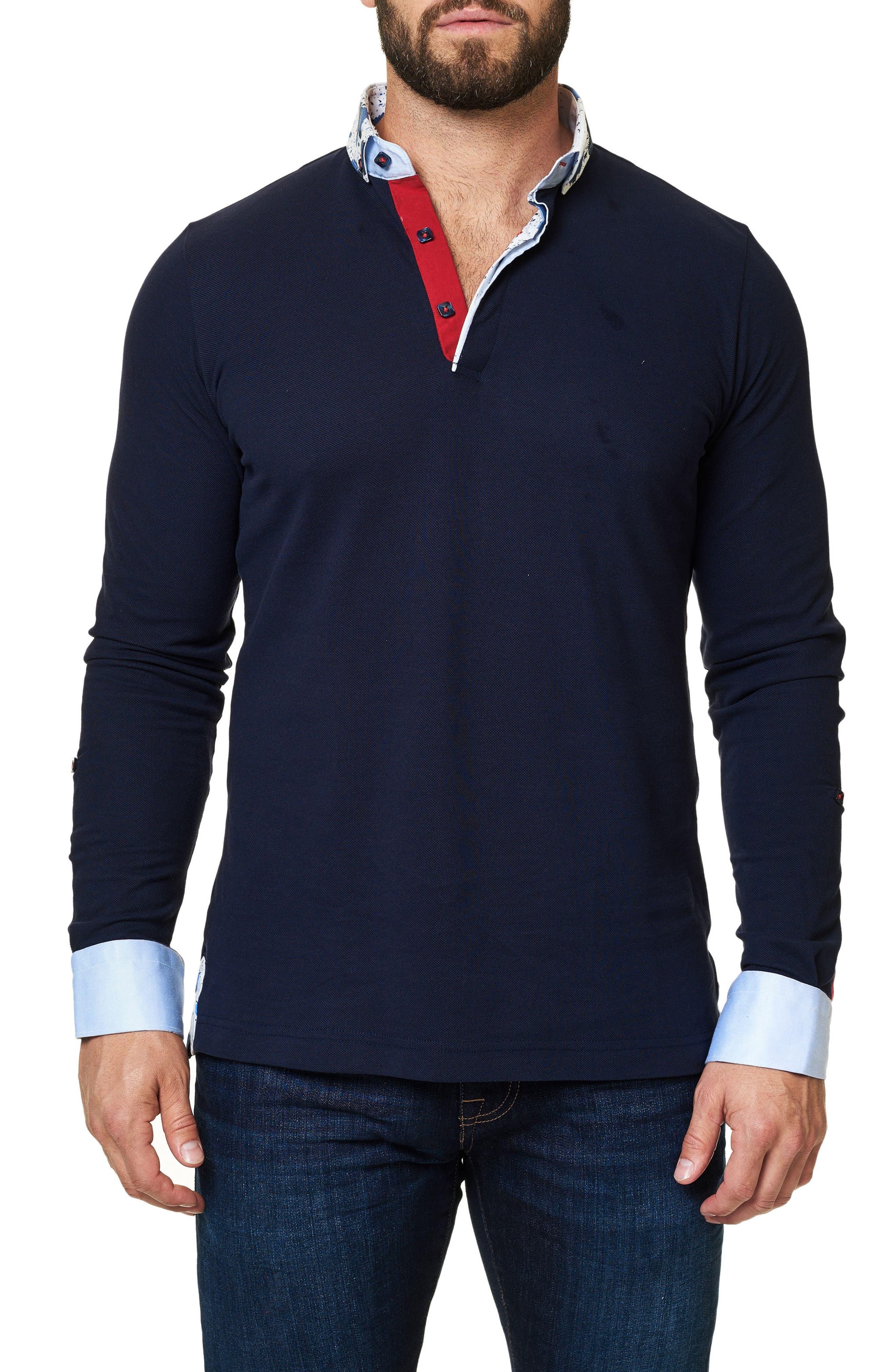 Long Sleeve Polo,                         Main,                         color, Navy Blue