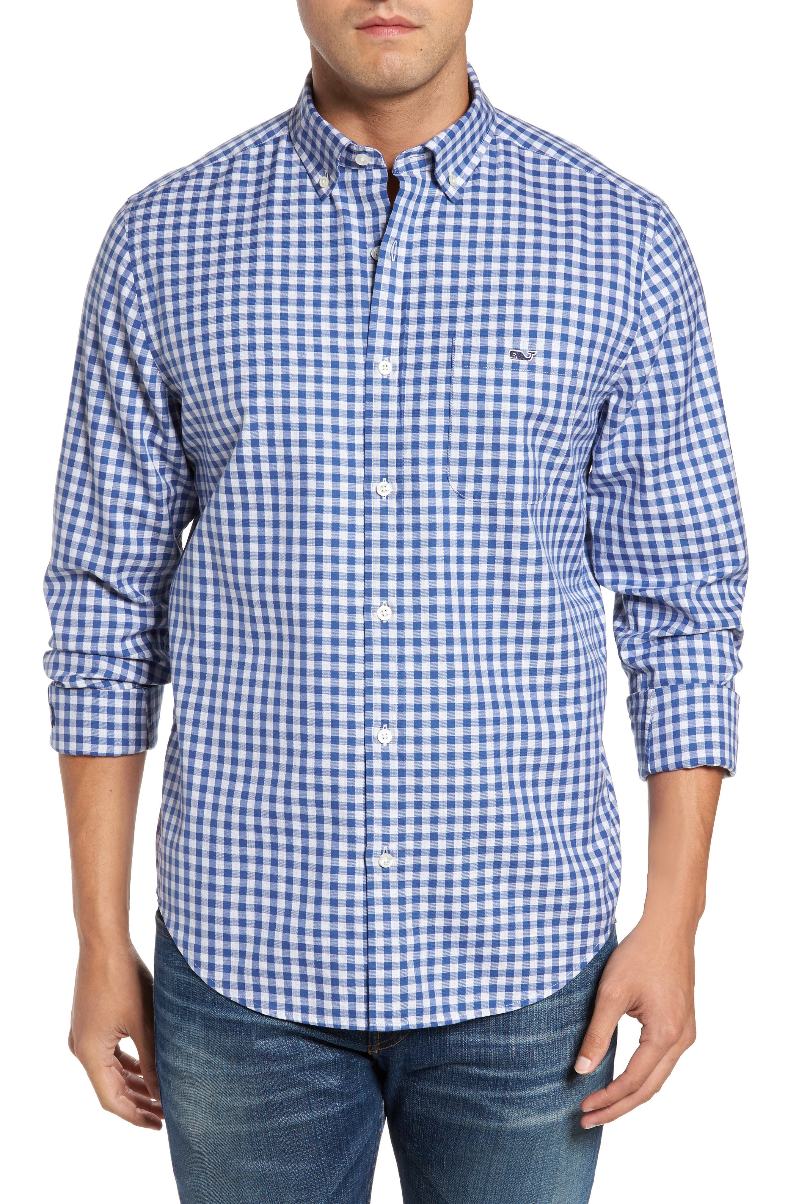 Classic Fit Tucker Cliff Gingham Sport Shirt,                         Main,                         color, Moonshine