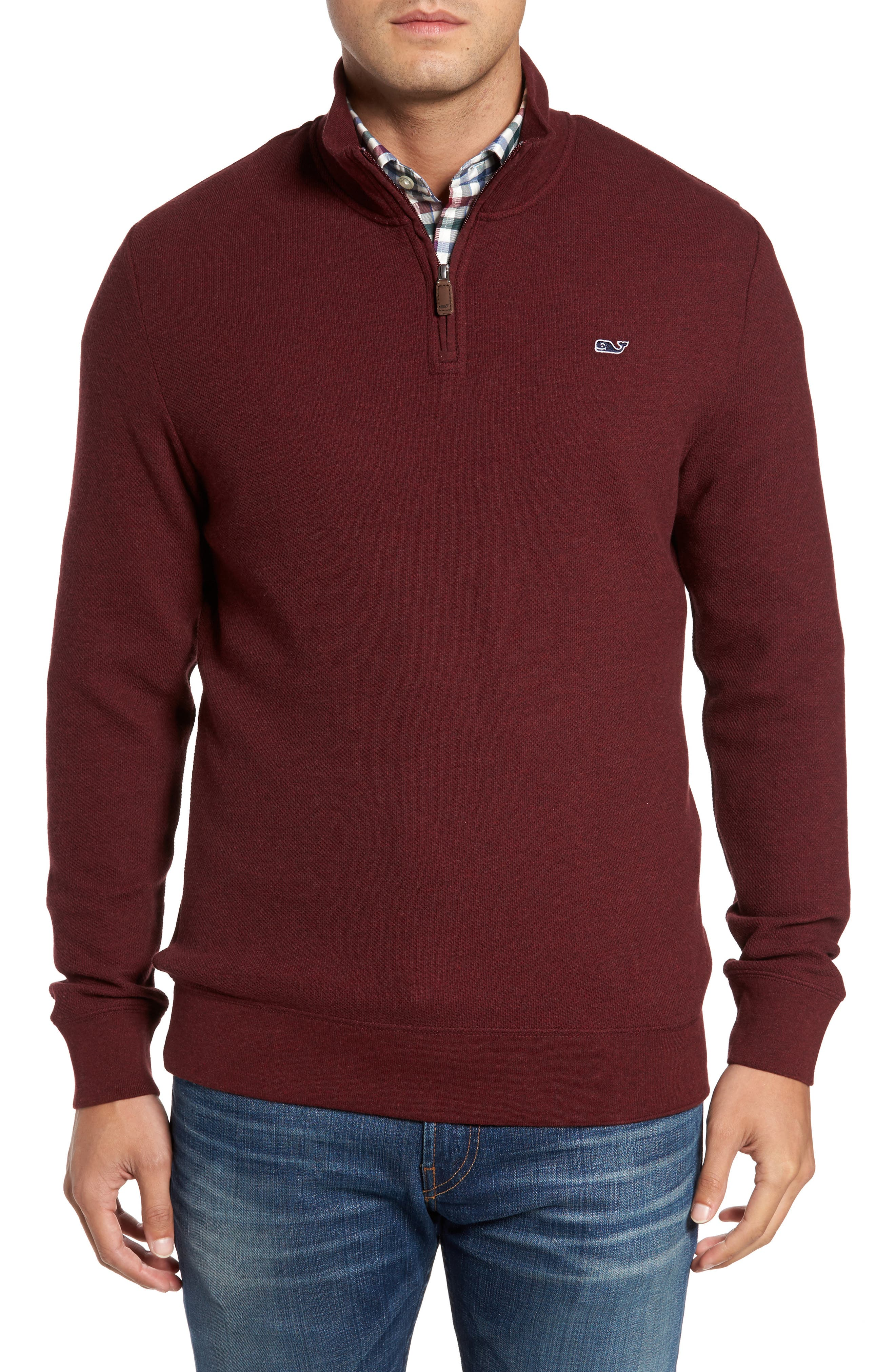 Main Image - vineyard vines Double-Knit Quarter Zip Pullover