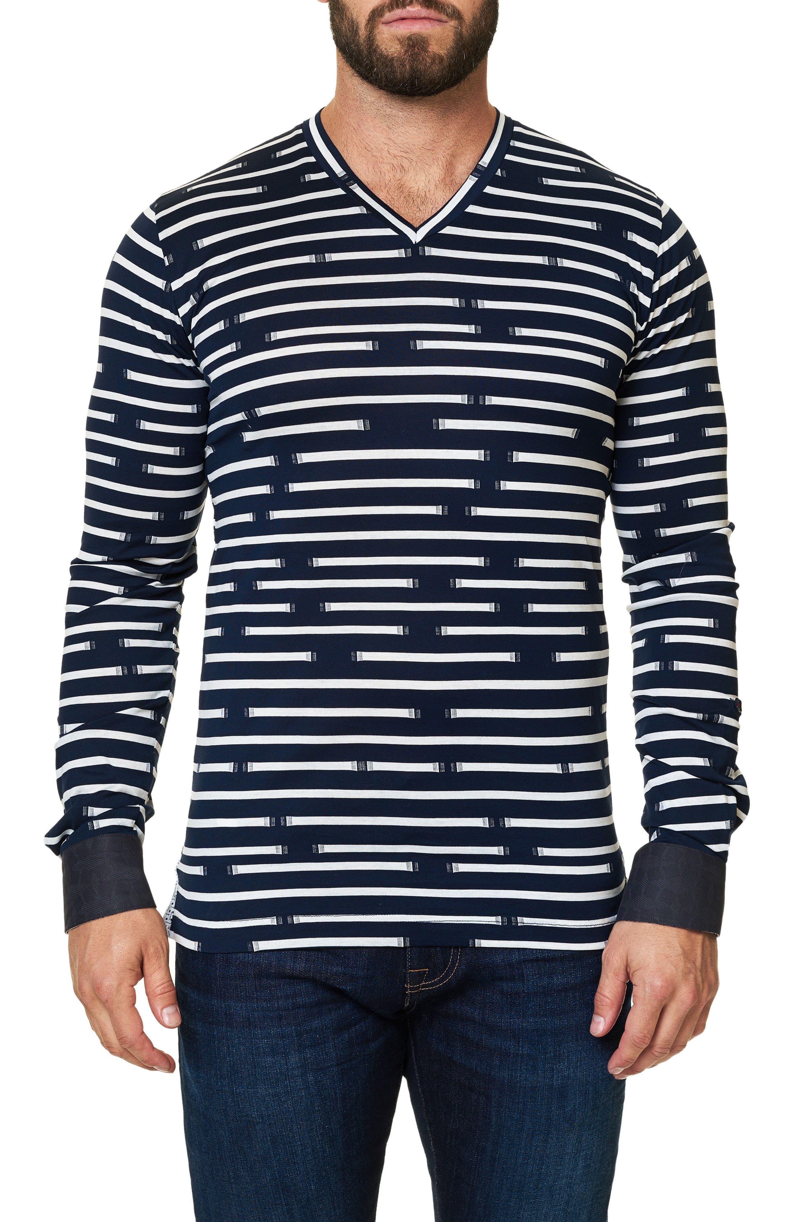 Print V-Neck T-Shirt,                         Main,                         color, Navy Blue