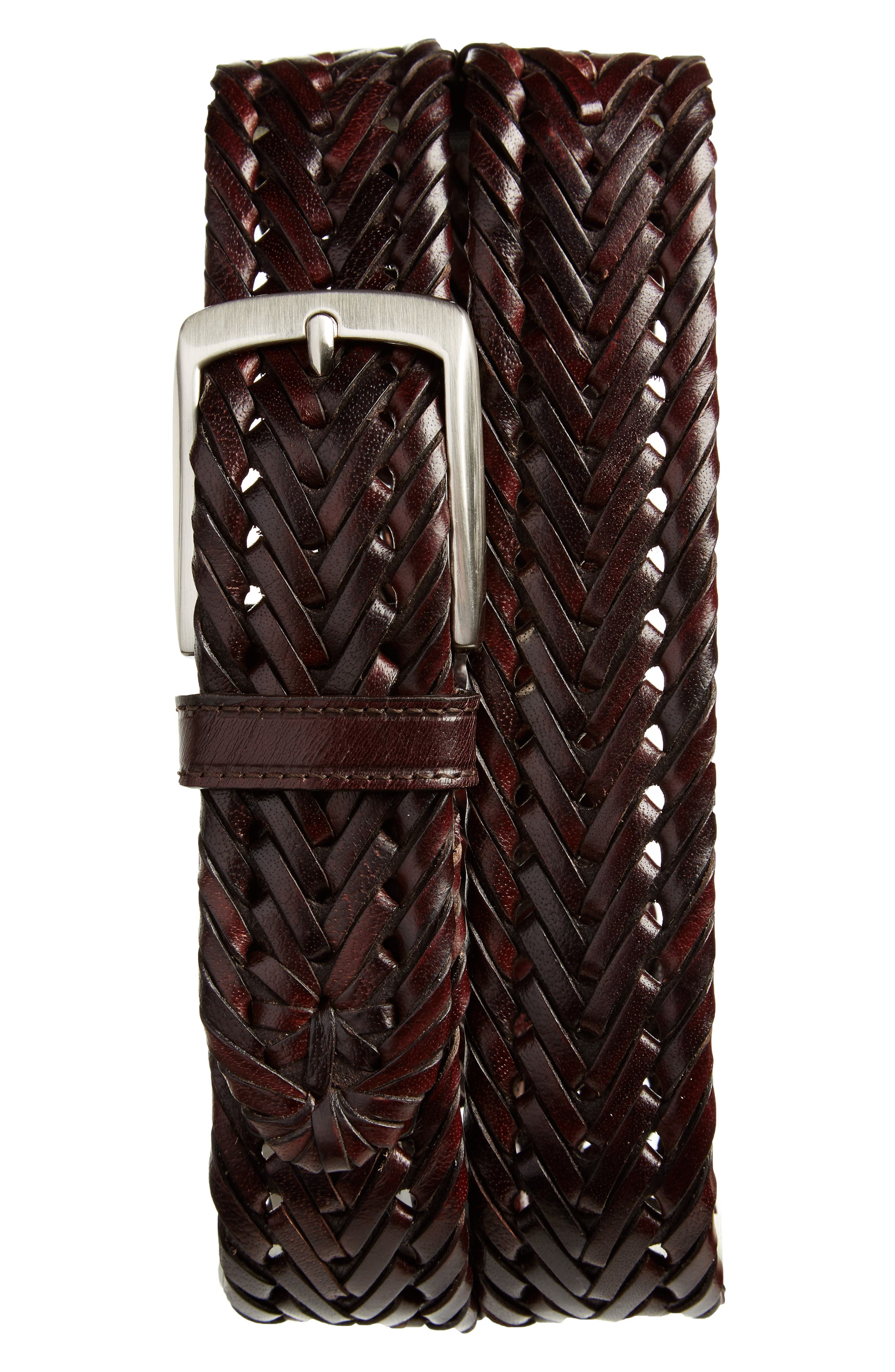 Enzo Braided Leather Belt,                             Main thumbnail 1, color,                             Brown