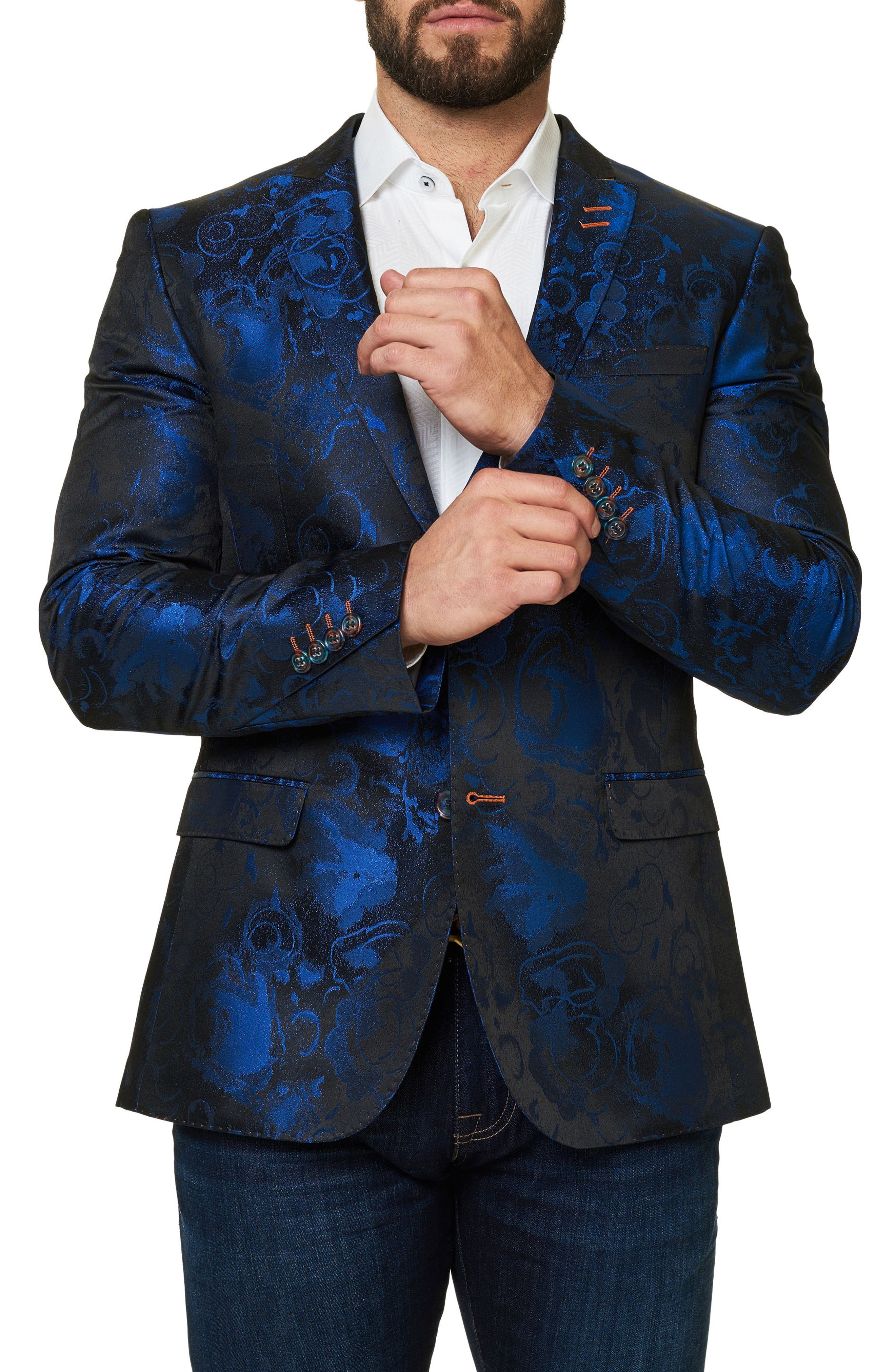 Socrate Jacquard Sport Coat,                             Alternate thumbnail 4, color,                             Medium Blue