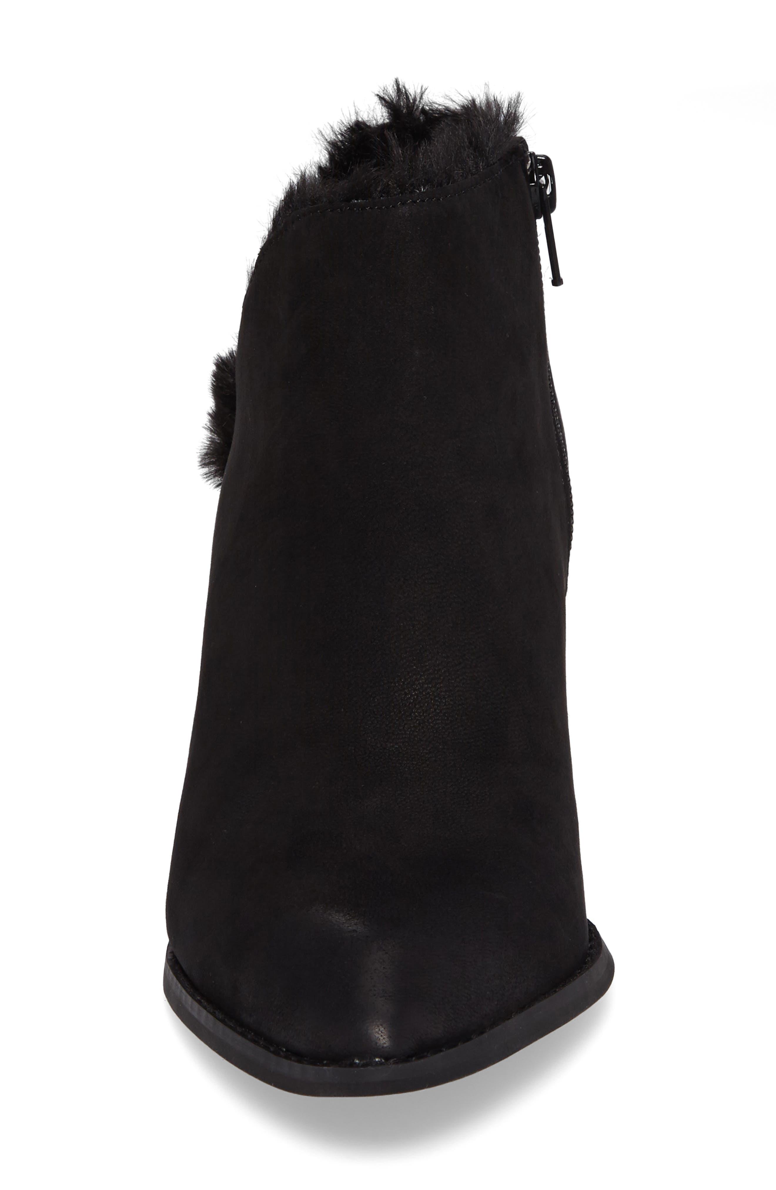 Preview Faux Fur Lined Bootie,                             Alternate thumbnail 4, color,                             Black Leather