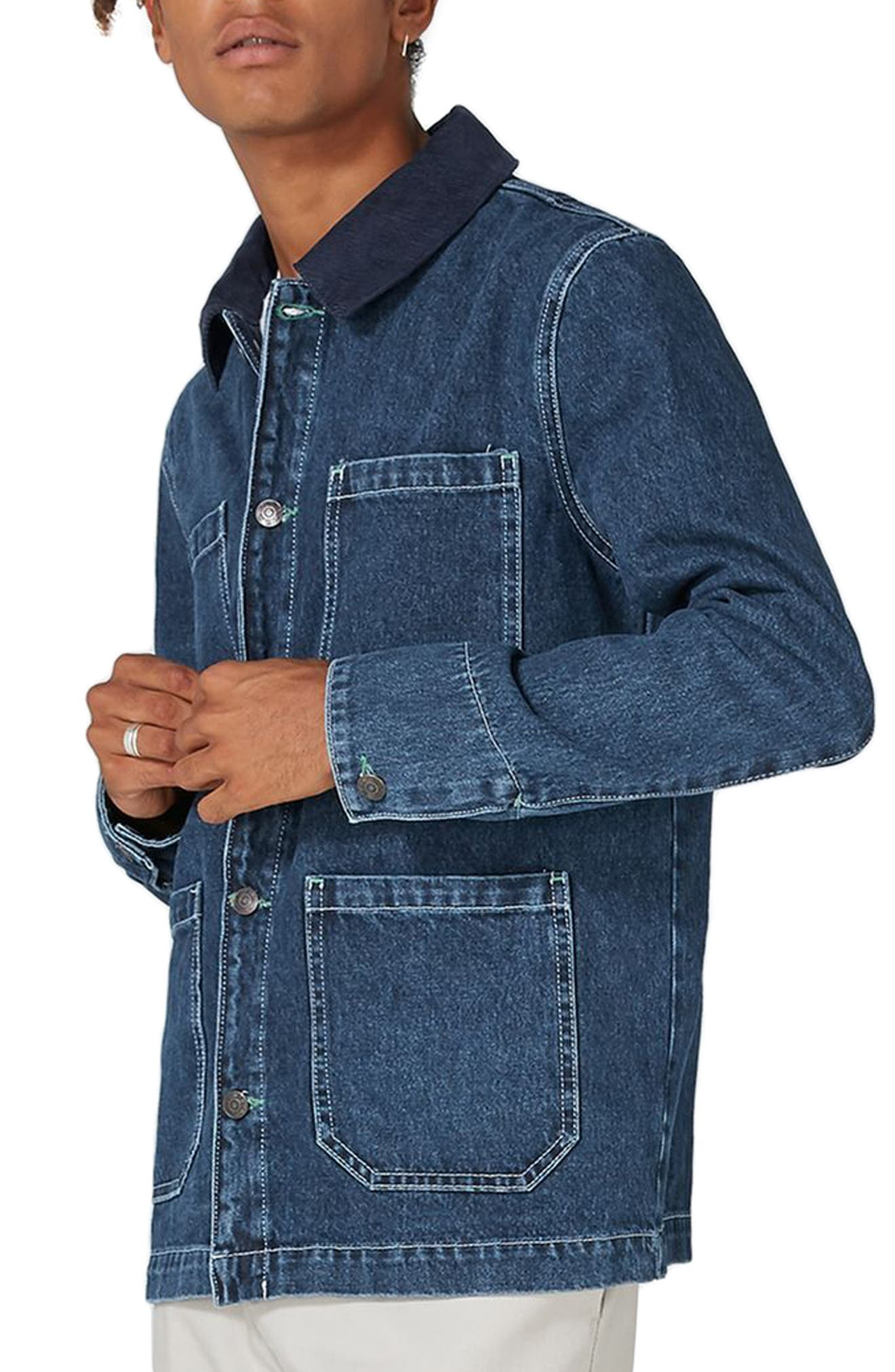 Denim Workwear Jacket,                             Main thumbnail 1, color,                             Mid Blue