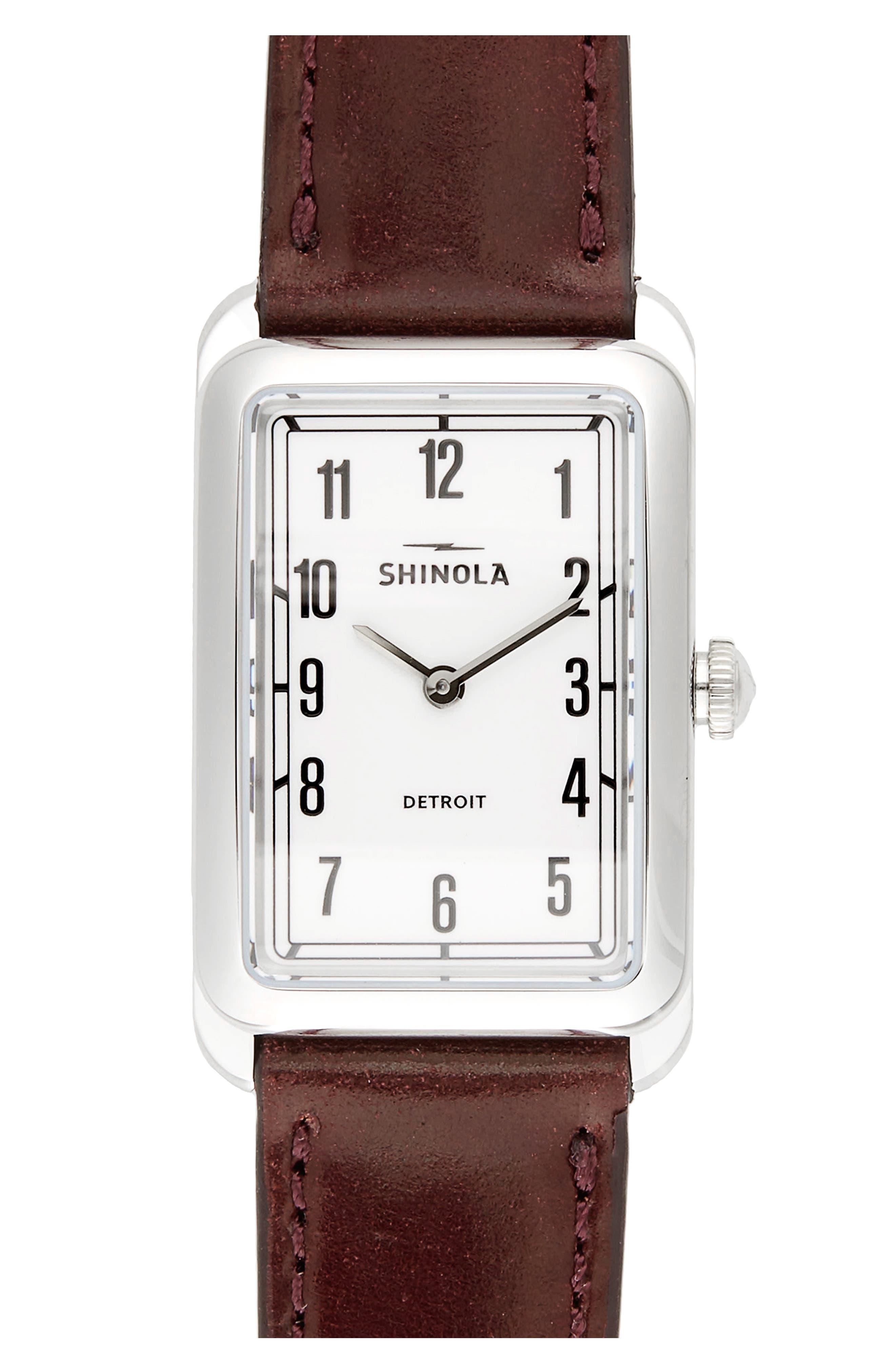 Main Image - Shinola The Muldowney Rectangular Leather Strap Watch, 24mm x 35mm