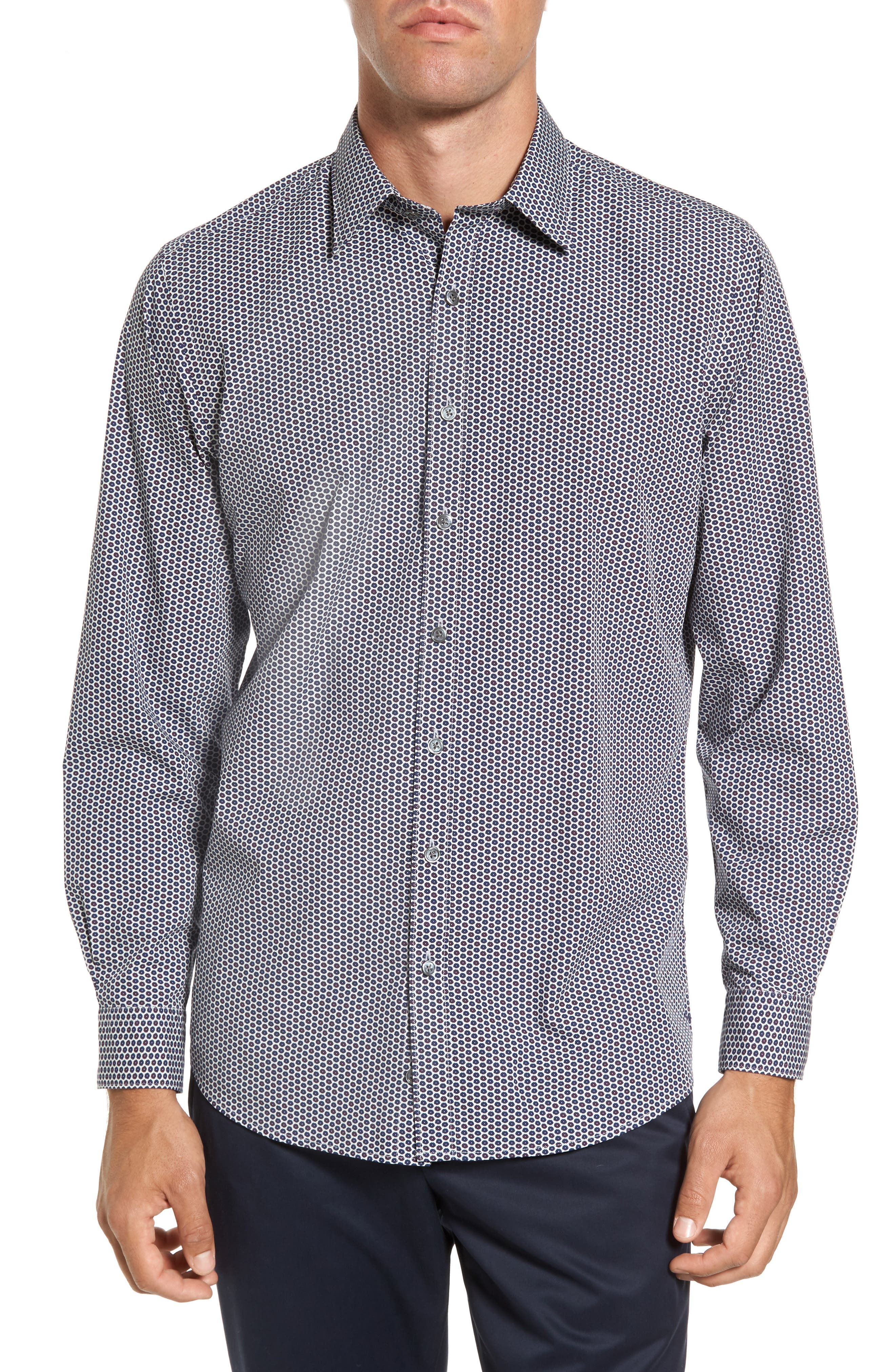 Flax Island Regular Fit Floral Sport Shirt,                         Main,                         color, Ash