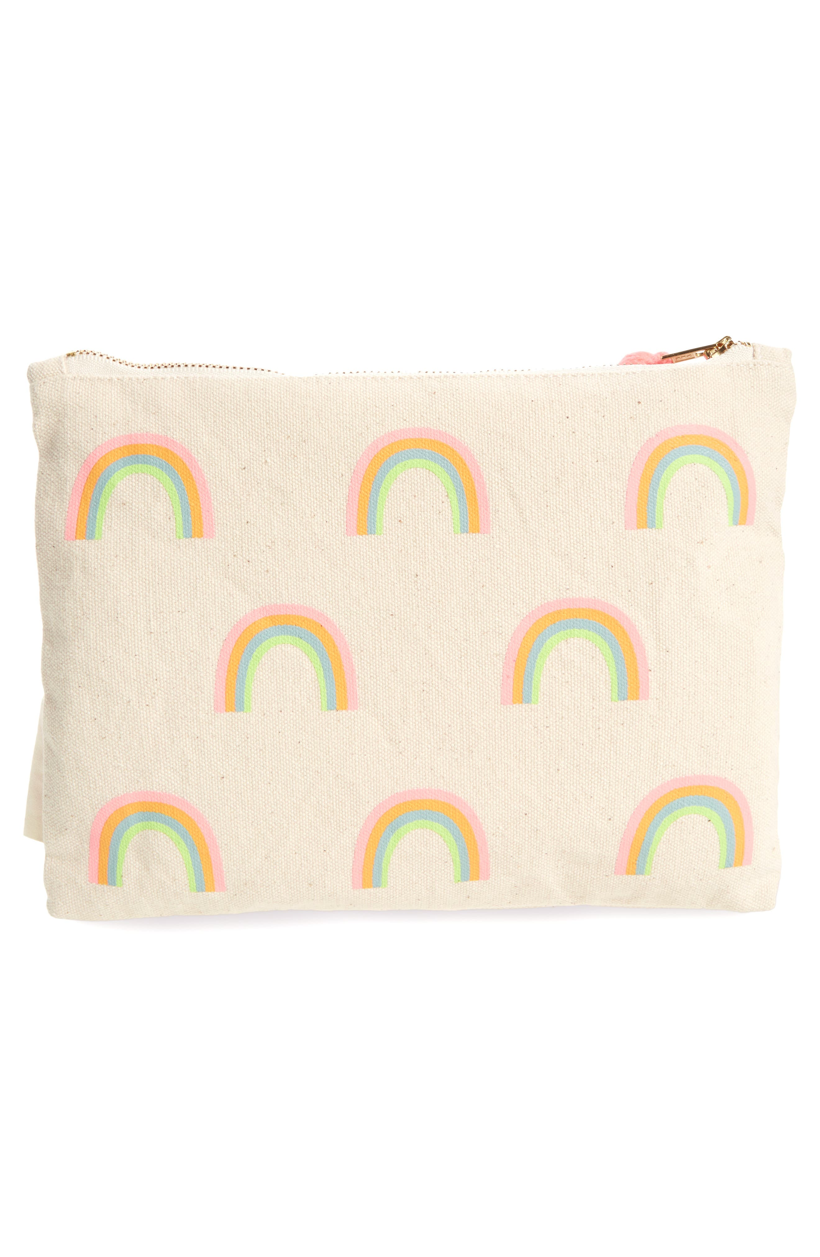 Large Rainbow Zip Pouch,                             Alternate thumbnail 3, color,                             Cream Multi