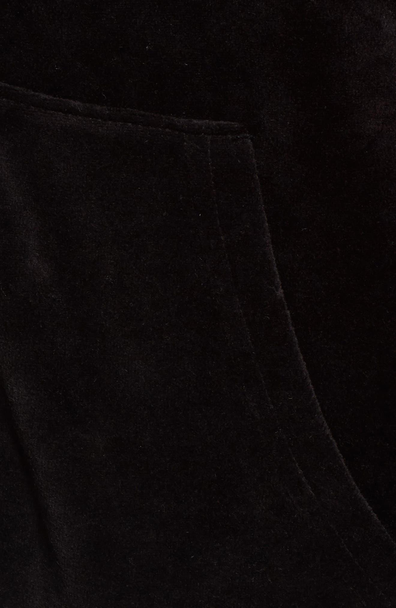 Velour Cape Jacket,                             Alternate thumbnail 5, color,                             Pitch Black