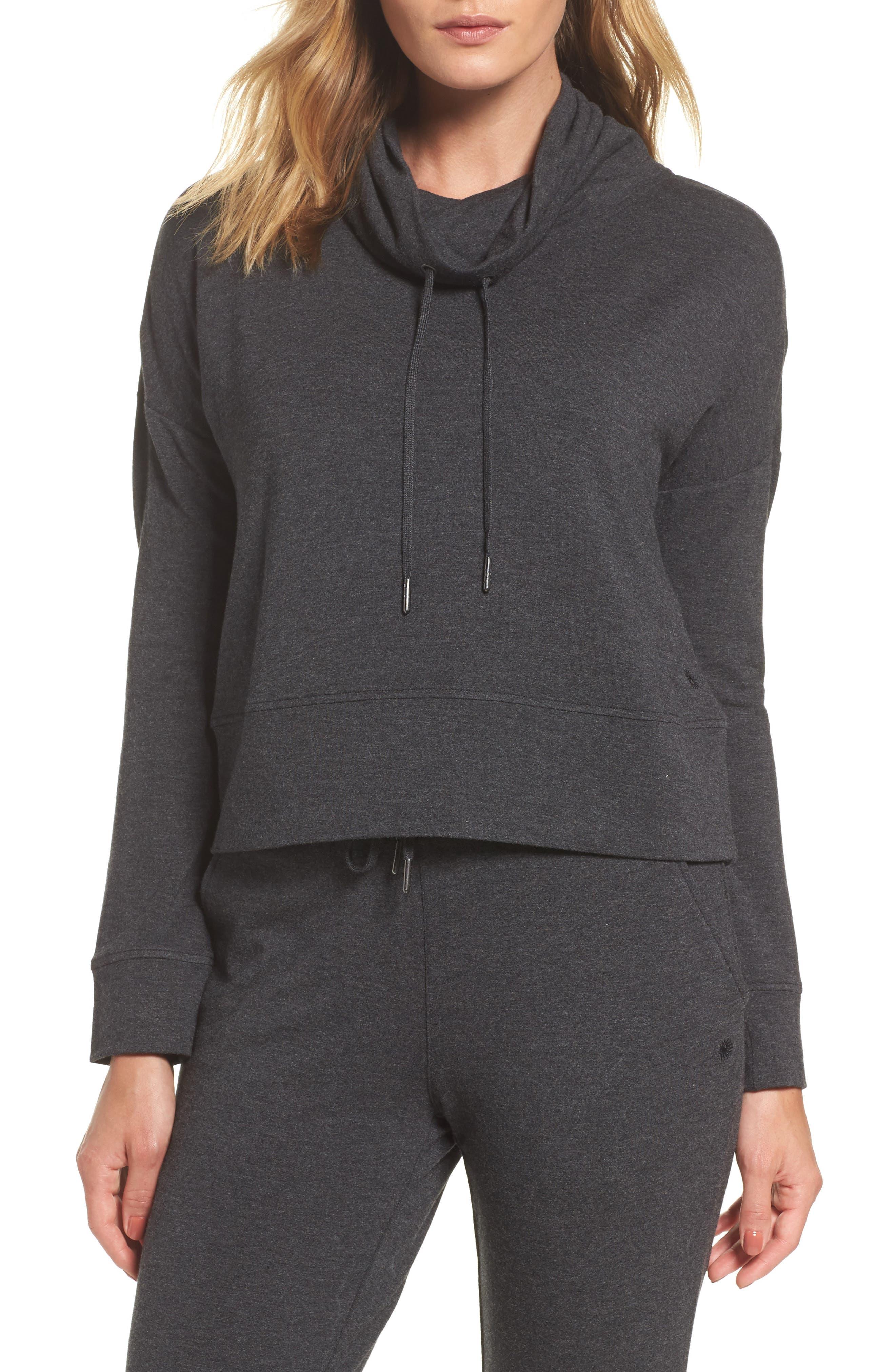 Funnel Neck Crop Sweatshirt,                             Main thumbnail 1, color,                             Black Heather