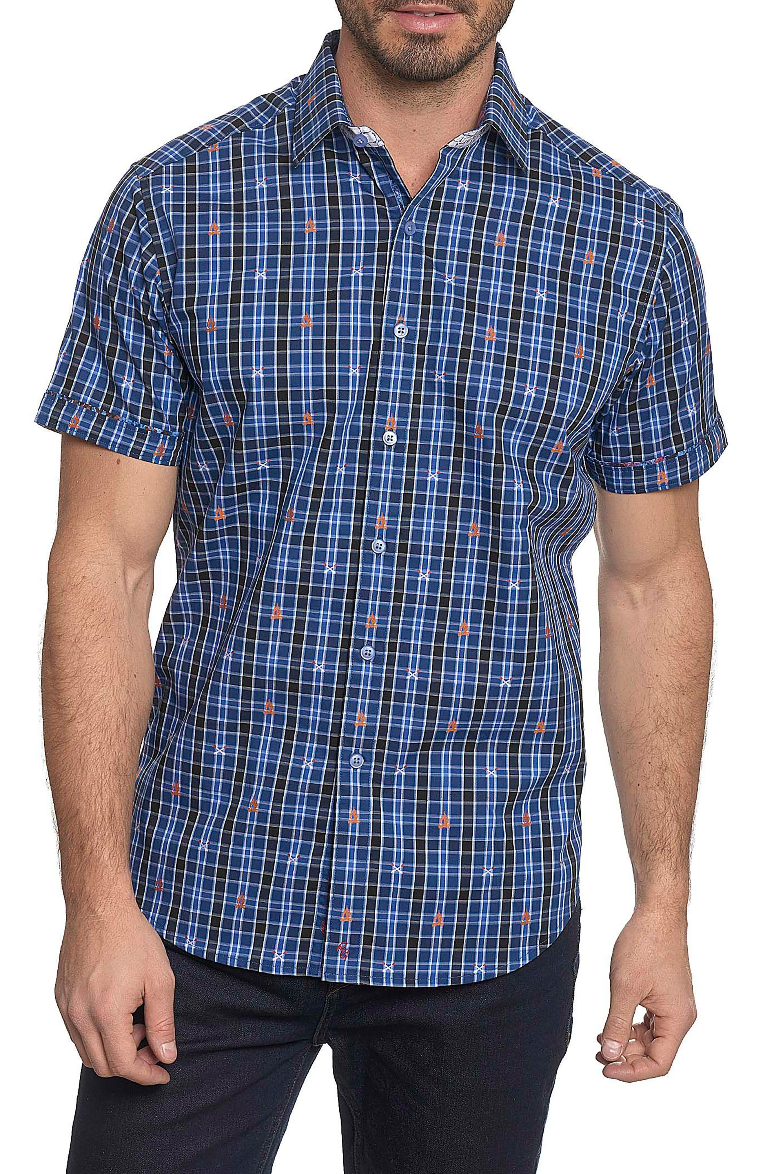 Main Image - Robert Graham Campfire Classic Fit Embroidered Check Sport Shirt (Tall)