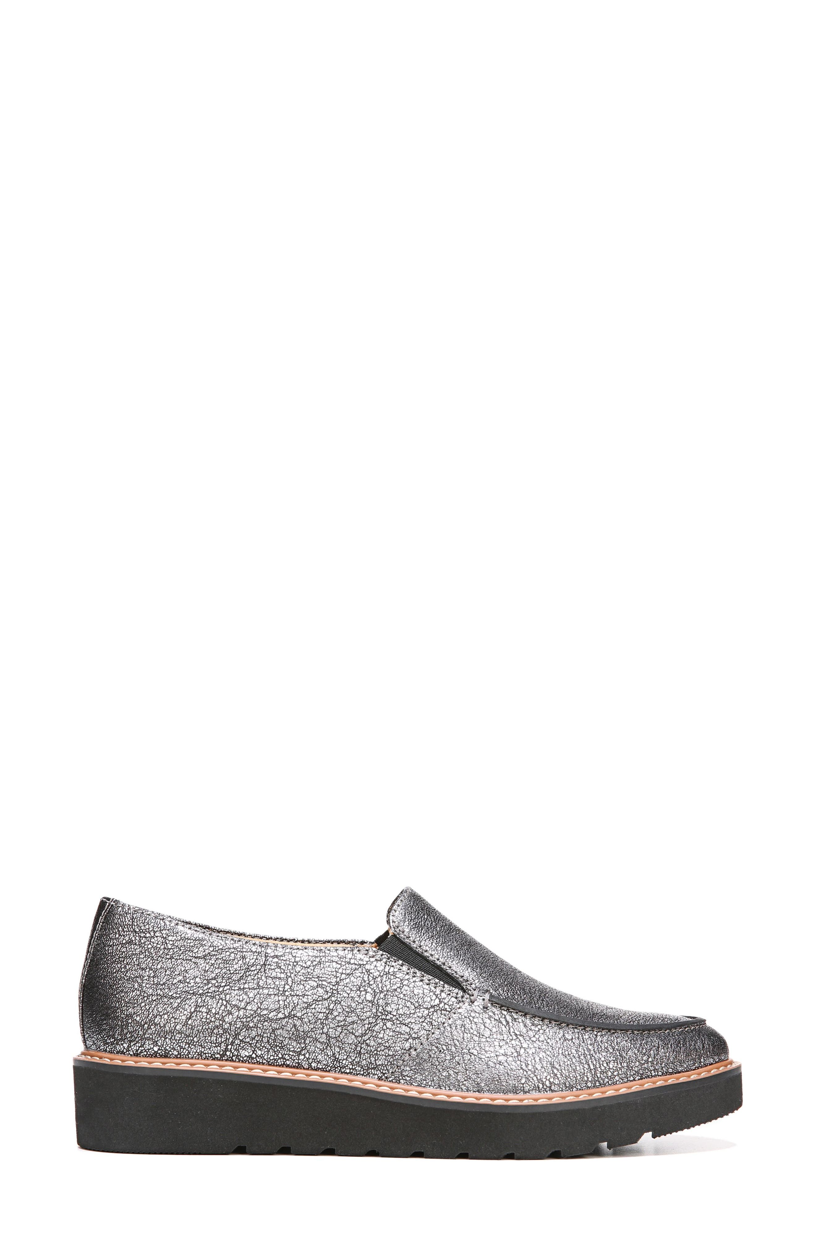 Aibileen Loafer,                             Alternate thumbnail 3, color,                             Silver Leather