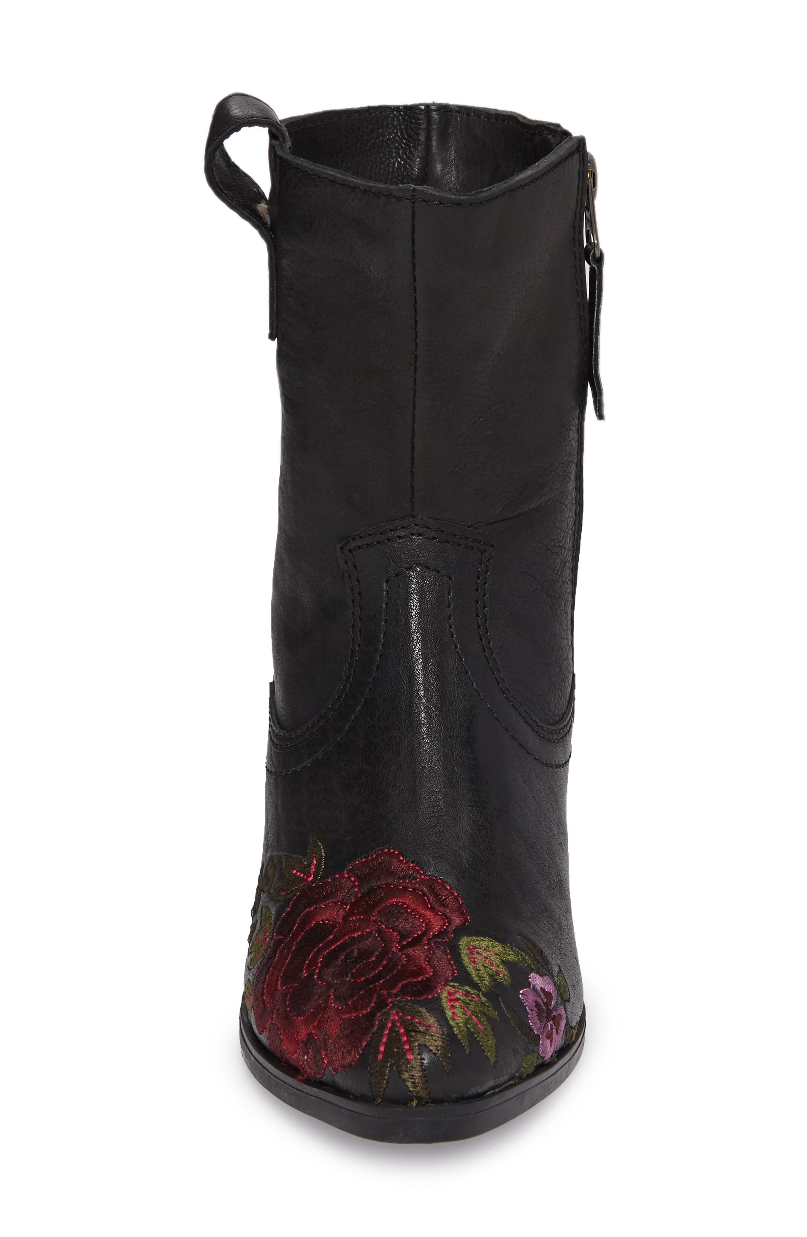 Shallot Floral Embroidered Bootie,                             Alternate thumbnail 4, color,                             Black Leather