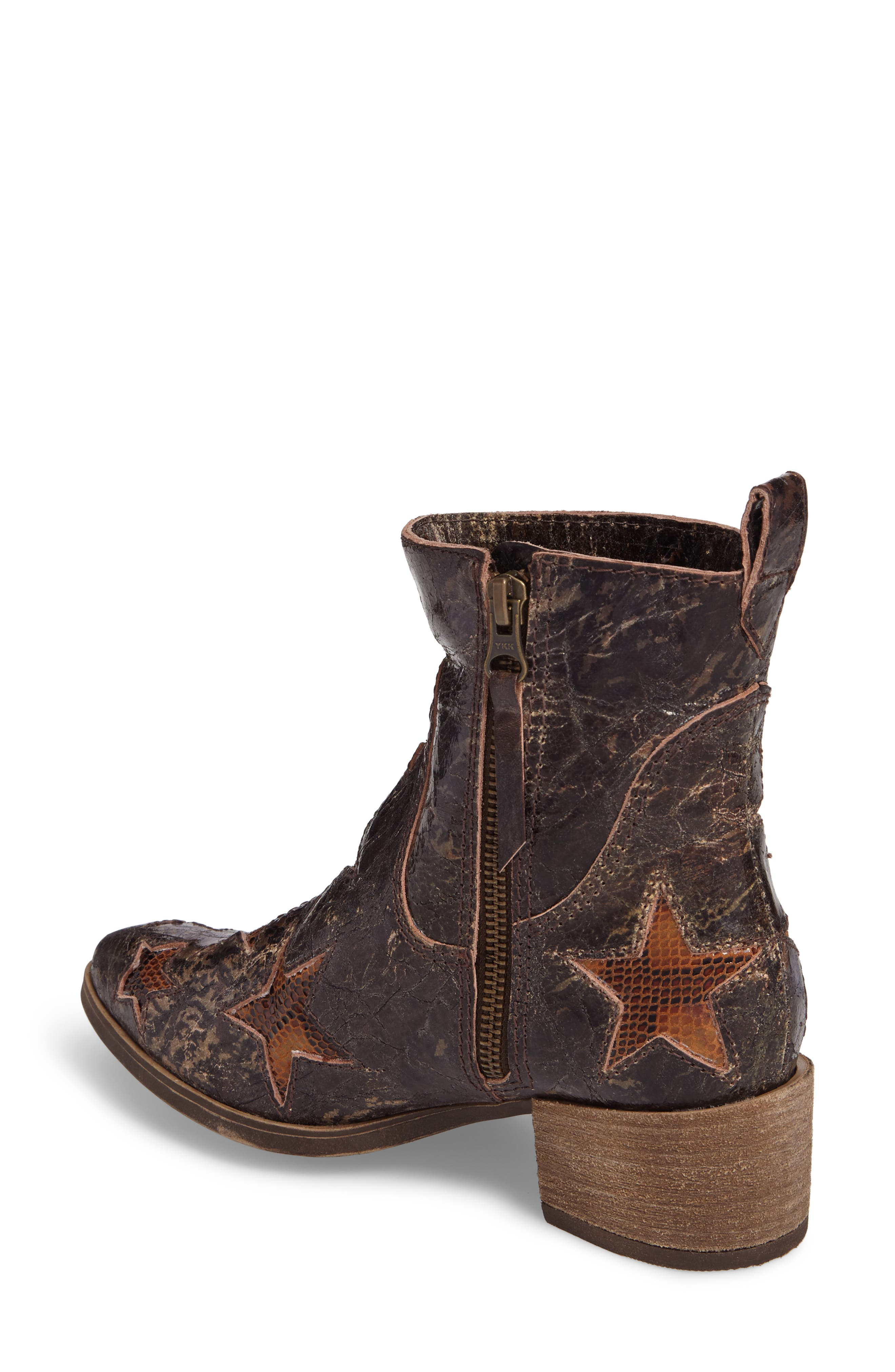 Crinkle Finish Star Bootie,                             Alternate thumbnail 2, color,                             Mid Brown Leather