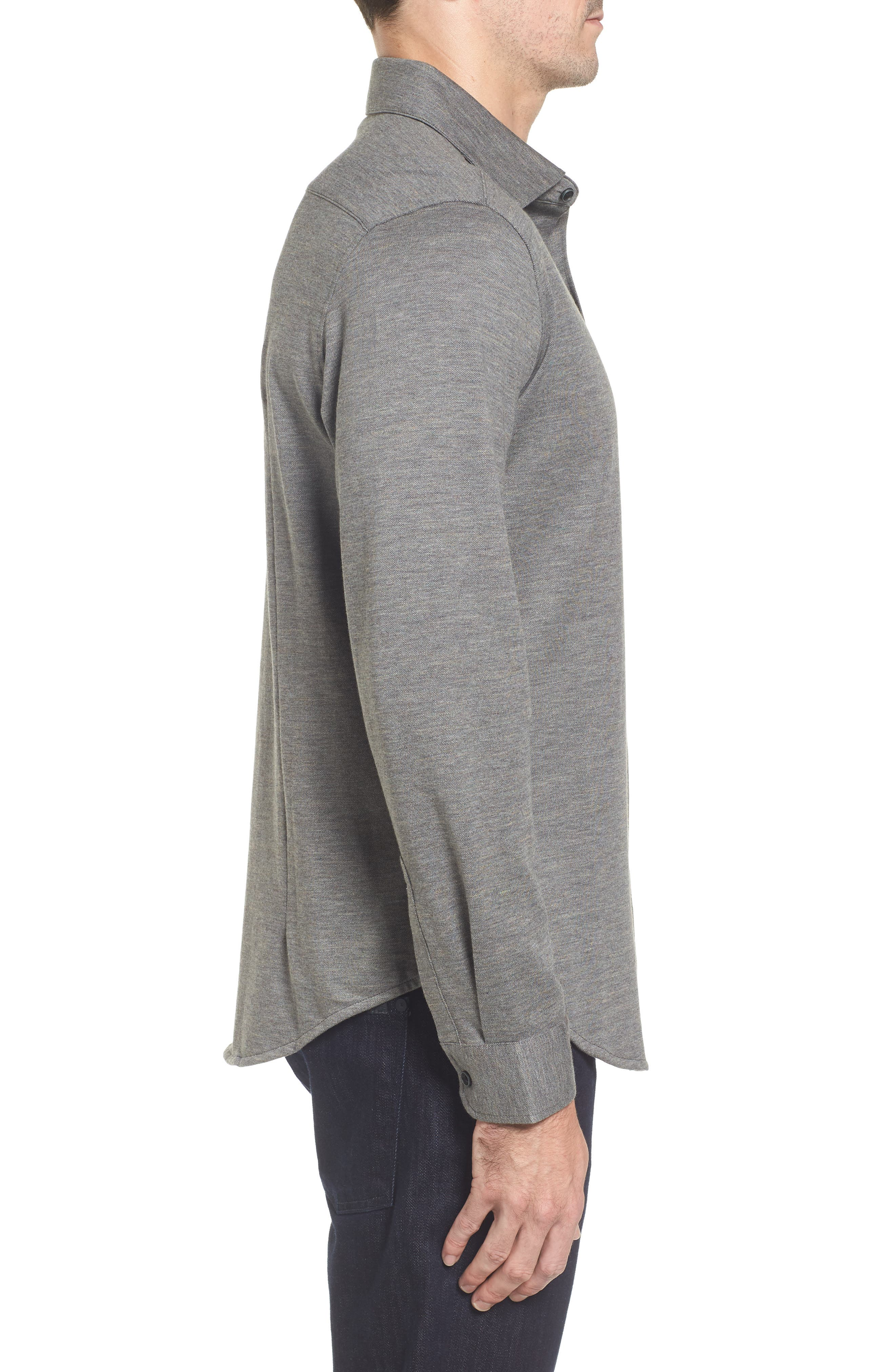 Regular Fit Piqué Knit Sport Shirt,                             Alternate thumbnail 3, color,                             Graphite