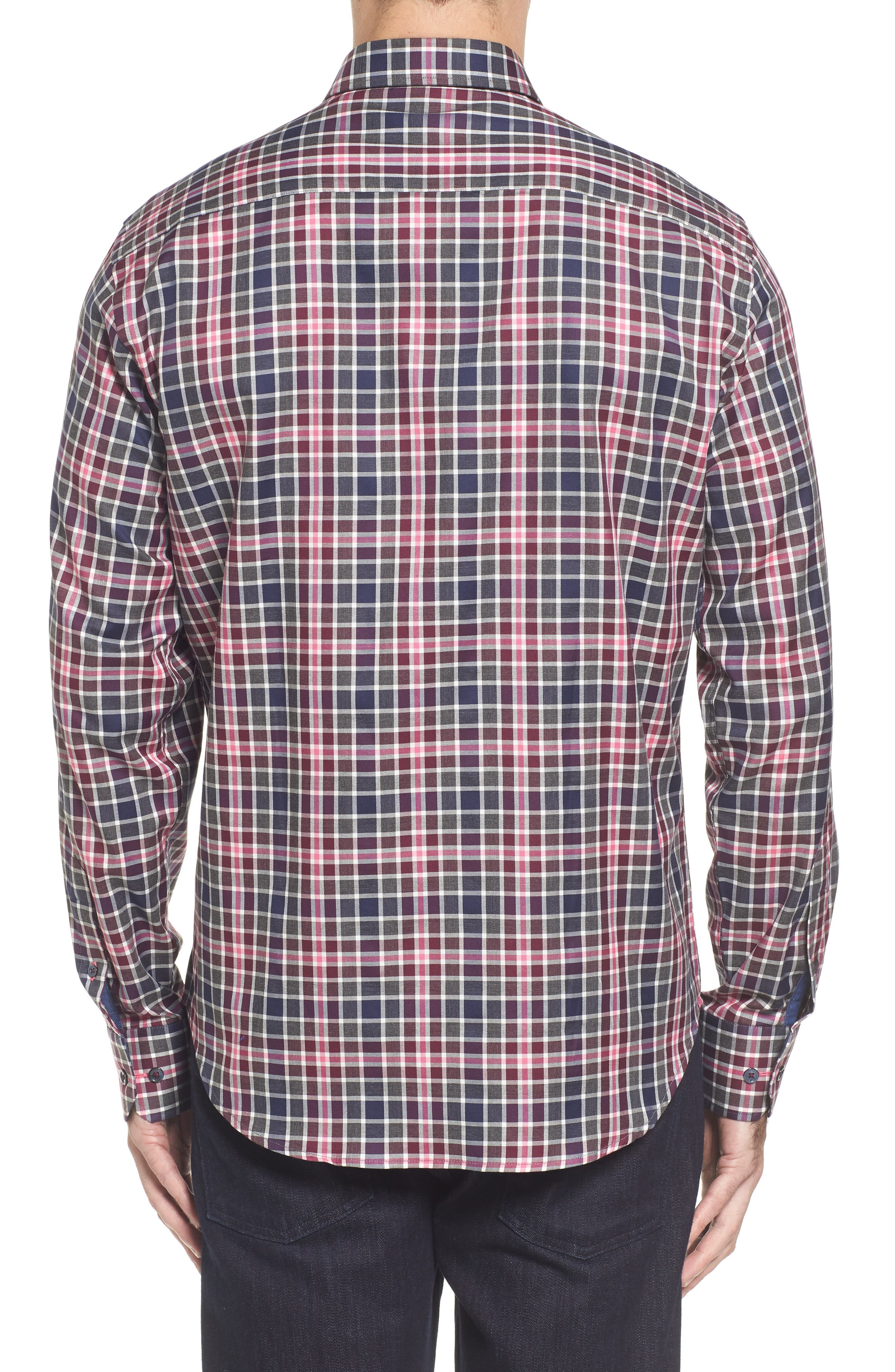 Shaped Fit Plaid Sport Shirt,                             Alternate thumbnail 2, color,                             Wine