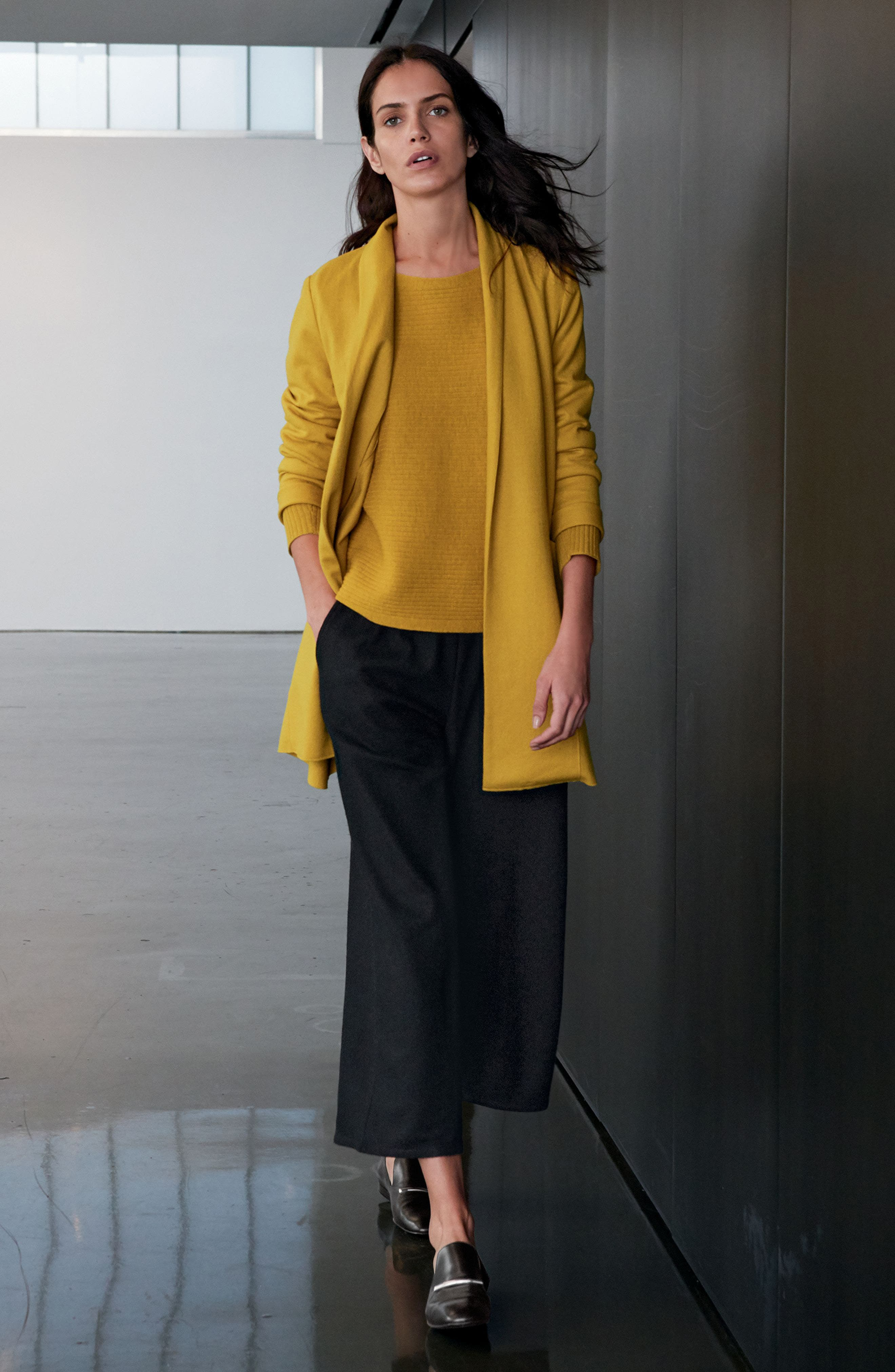 Boxy Ribbed Wool Sweater,                             Alternate thumbnail 2, color,                             Mustard Seed