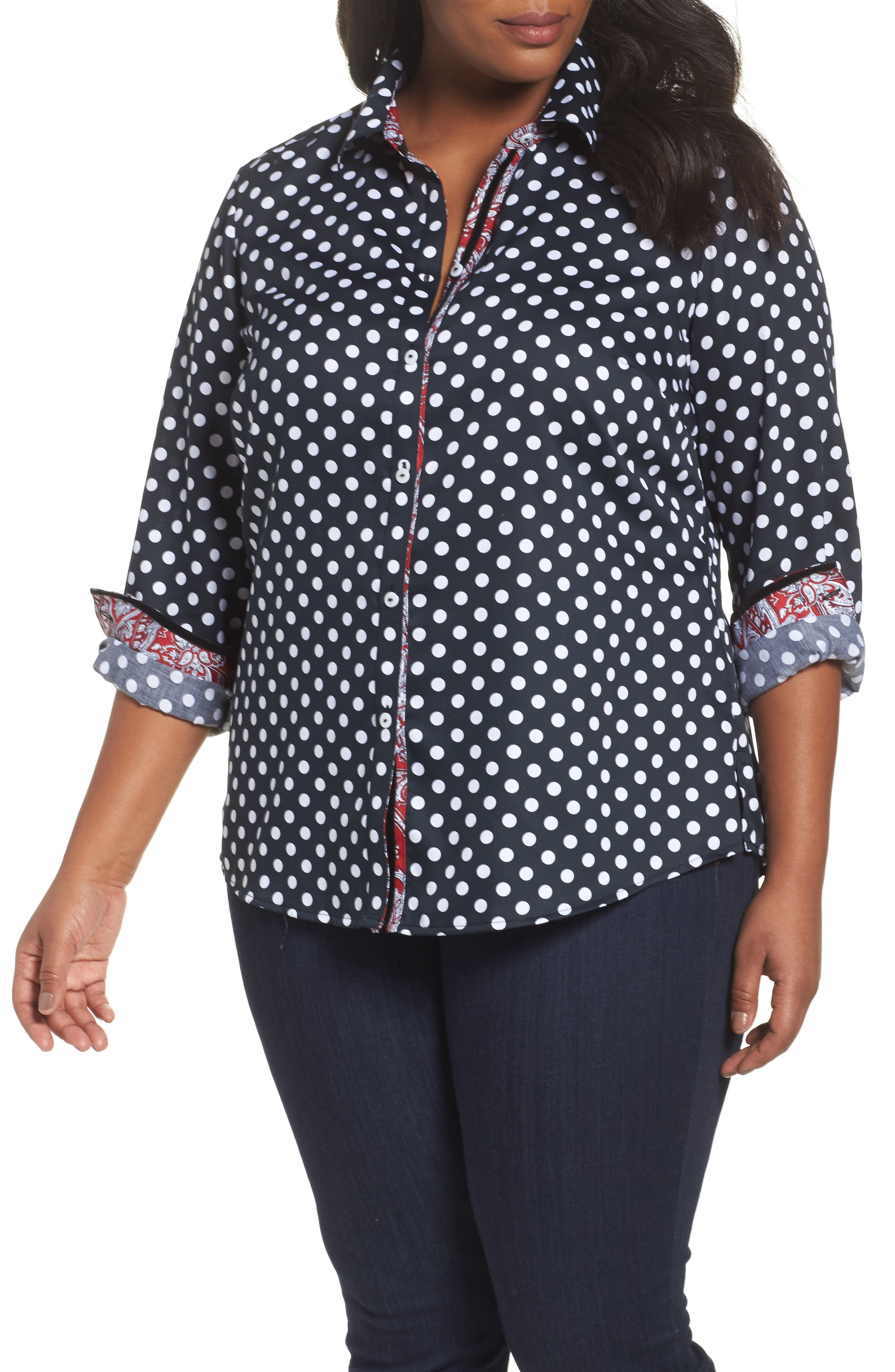 Ava Polka Dot Wrinkle-Free Shirt,                         Main,                         color, Black