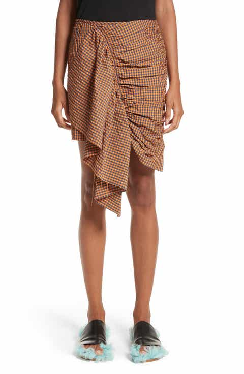 Marques'Almeida Gathered Front Gingham Skirt