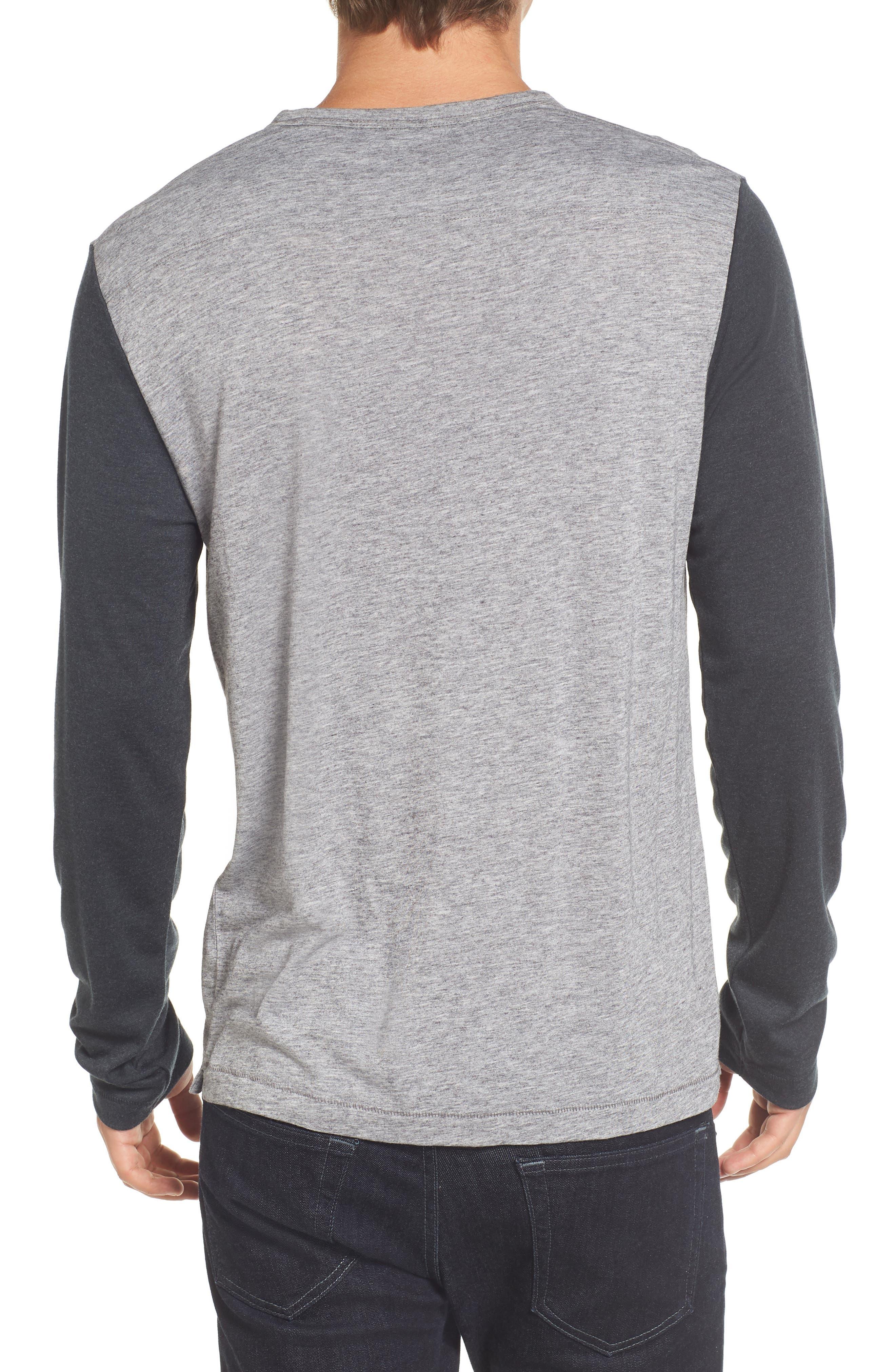 Contrast Long Sleeve T-Shirt,                             Alternate thumbnail 2, color,                             Grey Melange/ Ebony
