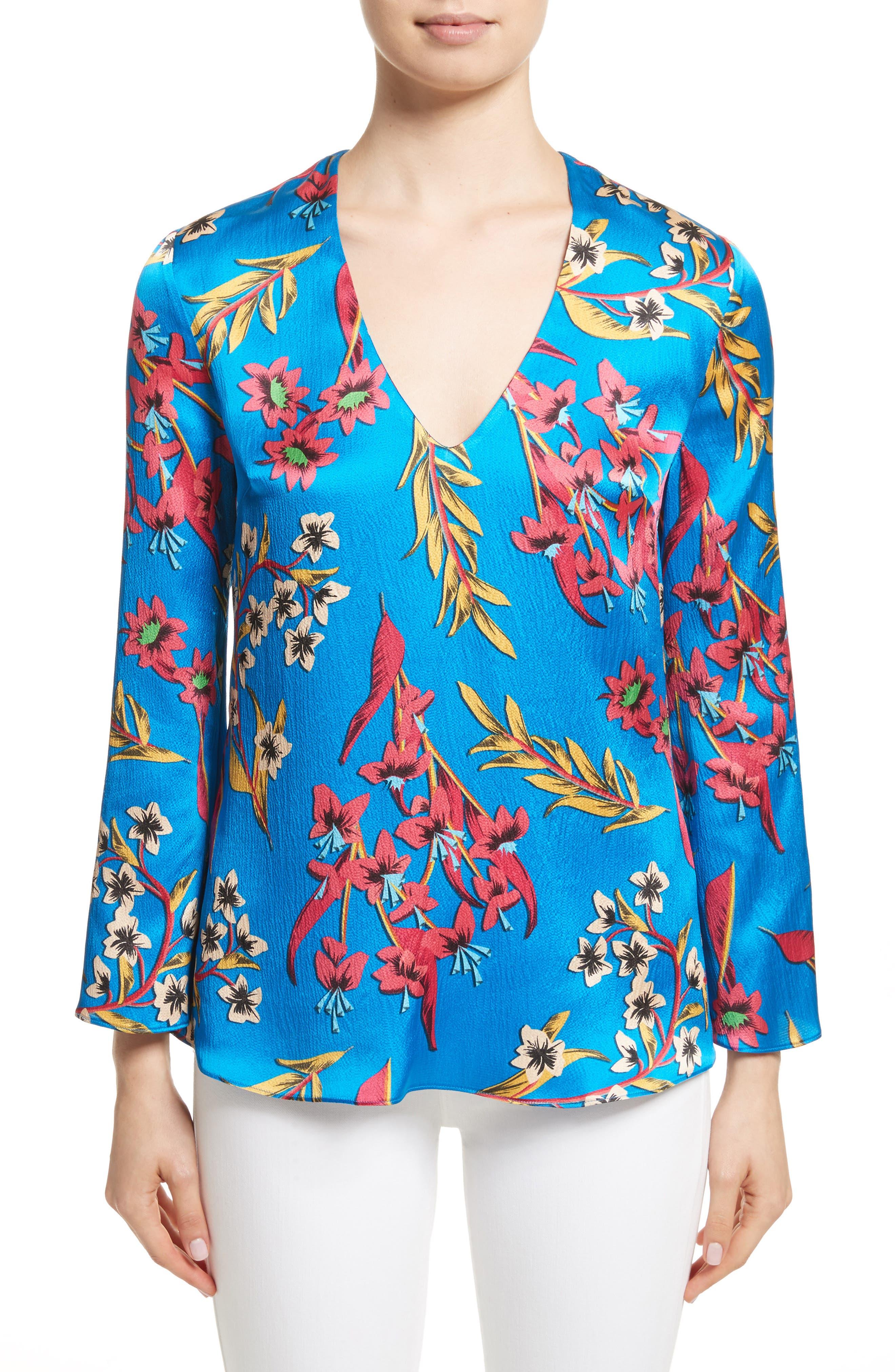 Jungle Floral Print Silk Blouse,                         Main,                         color, Blue