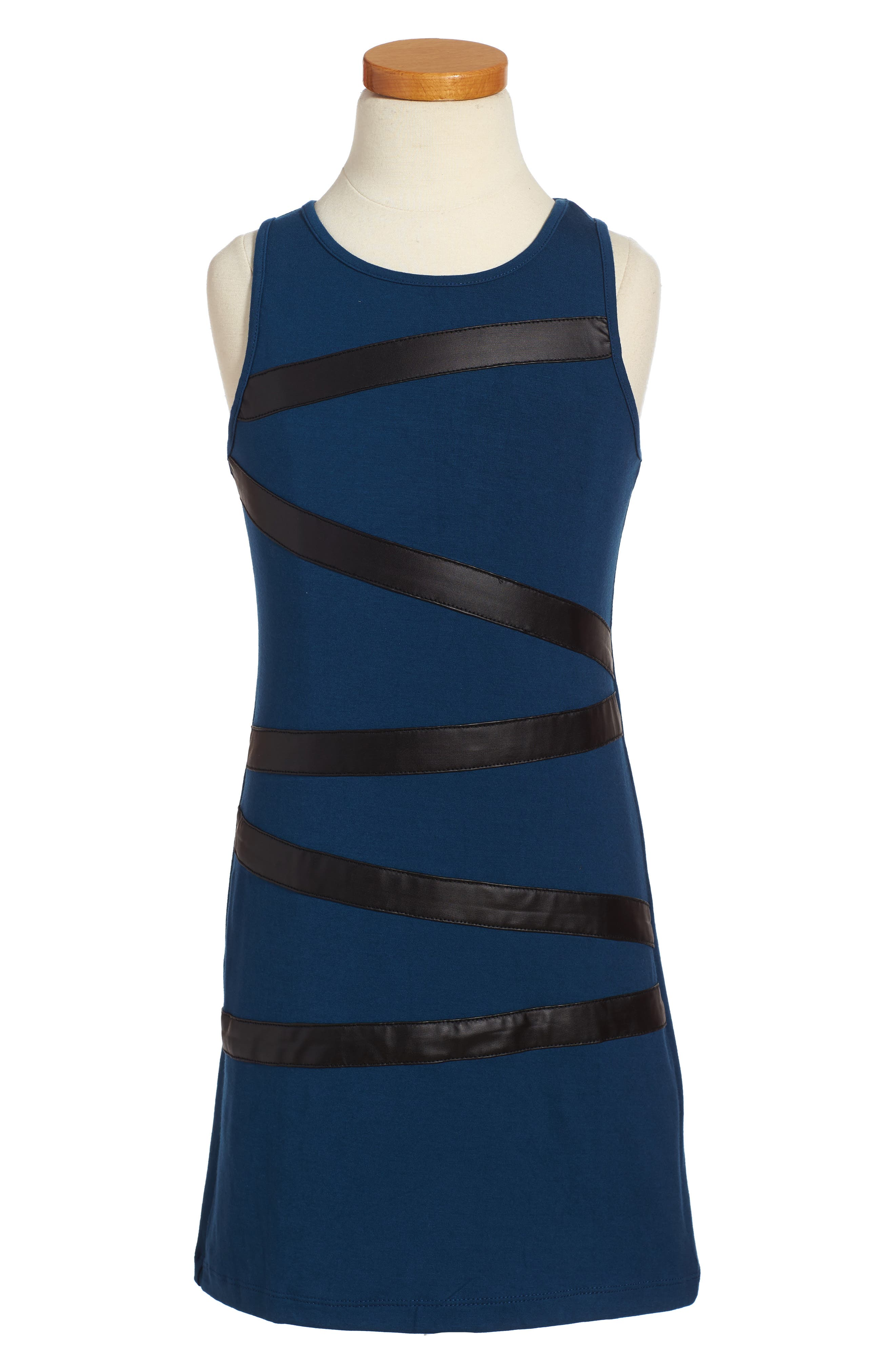Faux Leather Trim Dress,                             Main thumbnail 1, color,                             Navy
