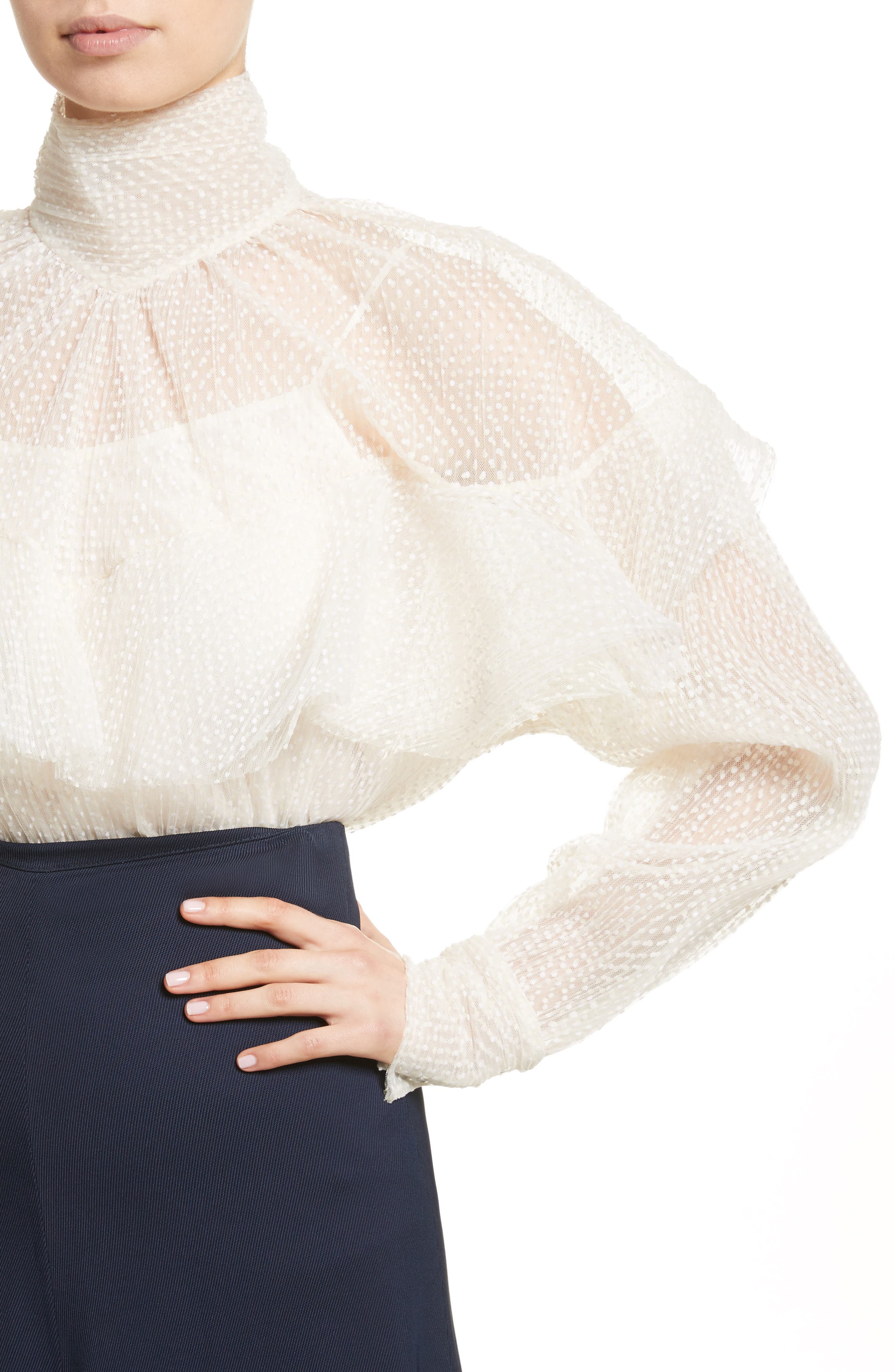 A.W.A.K.E Frill Double Layered Tulle Top,                             Alternate thumbnail 4, color,                             Cream