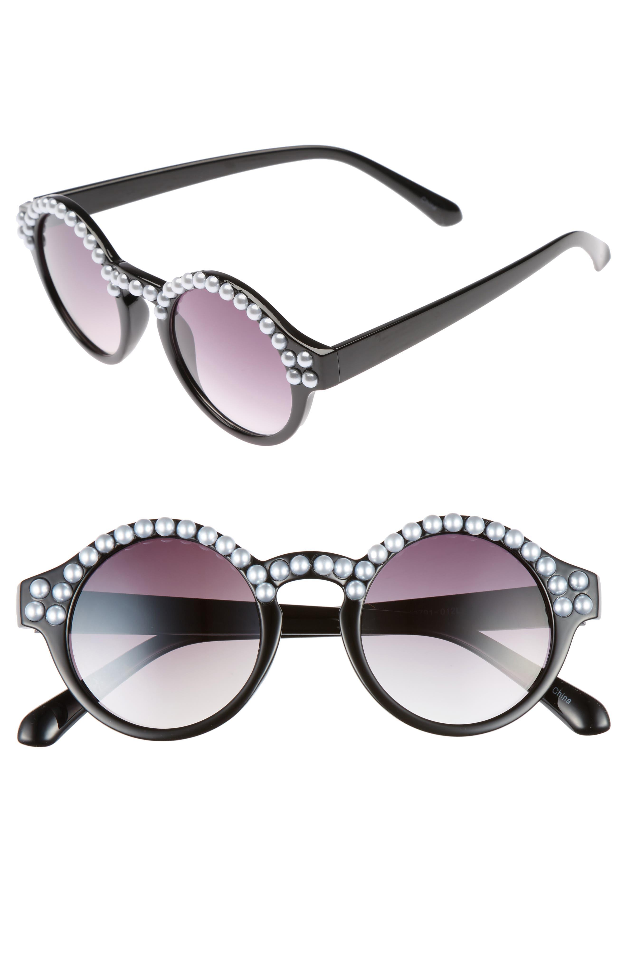 45mm Imitation Pearl Round Sunglasses,                             Main thumbnail 1, color,                             Black
