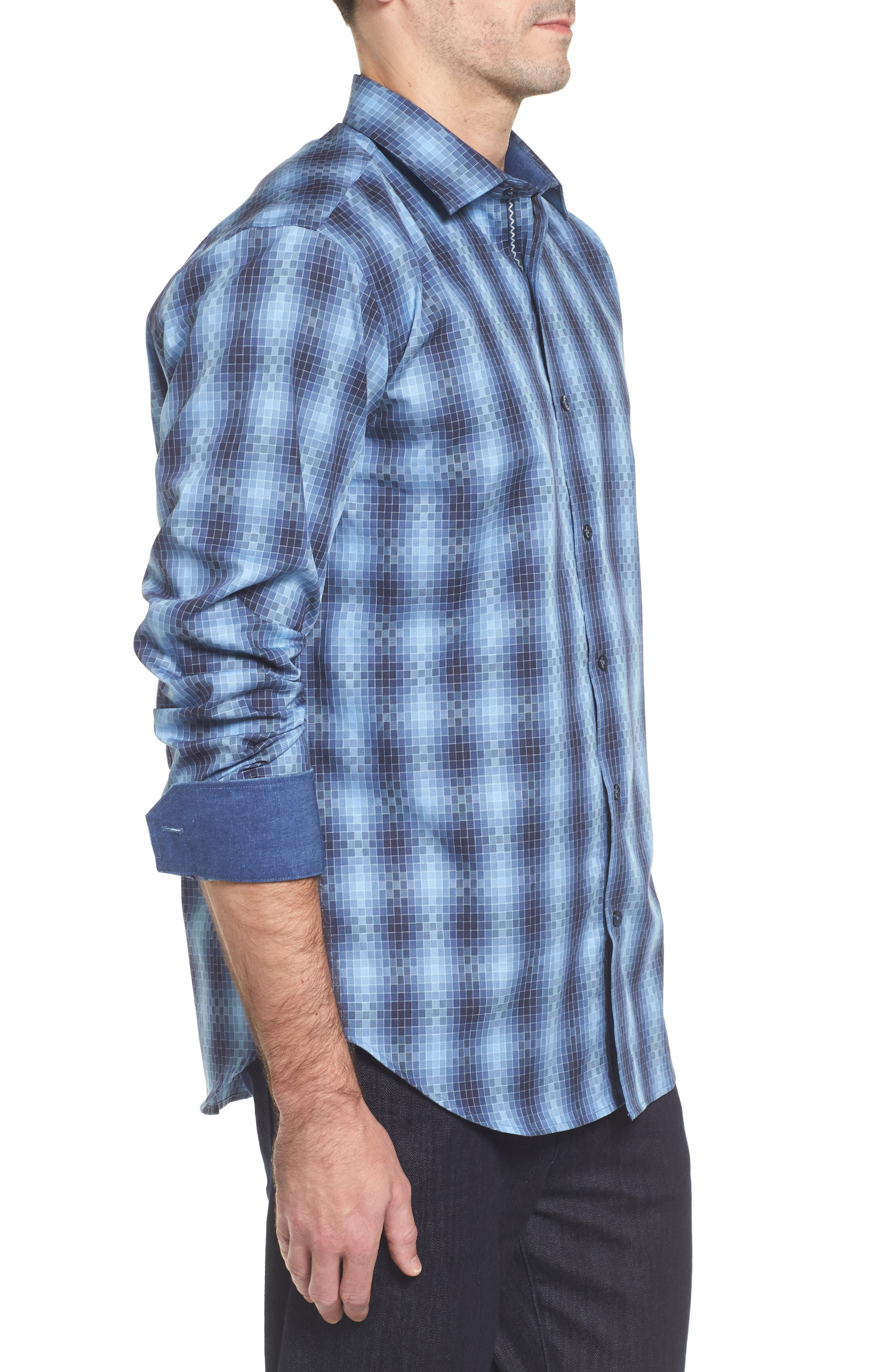 Slim Fit Gradient Check Sport Shirt,                             Alternate thumbnail 3, color,                             Cobalt