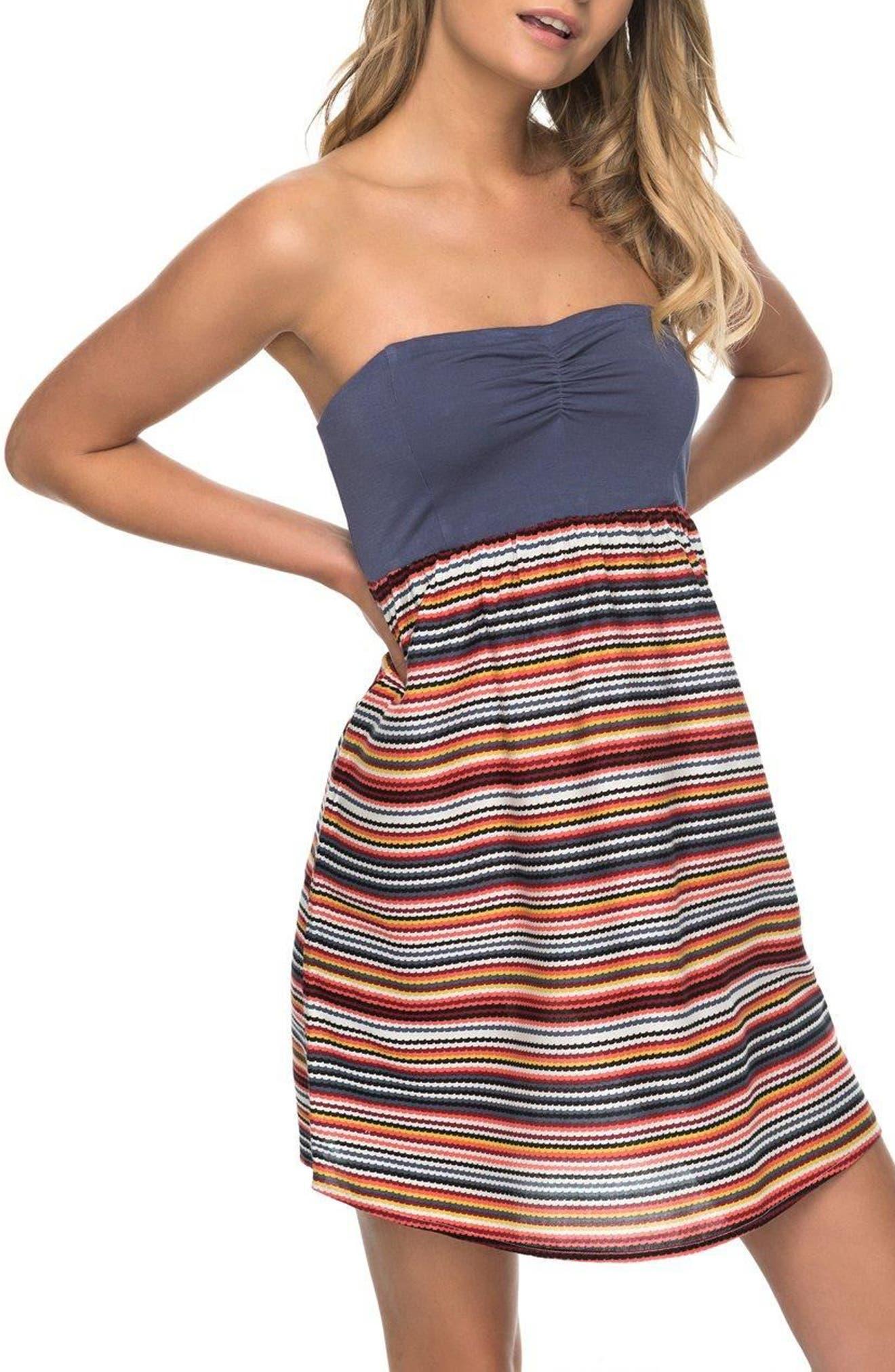 Ocean Romance Strapless Dress,                         Main,                         color, Rio Red Zigzag Stripe