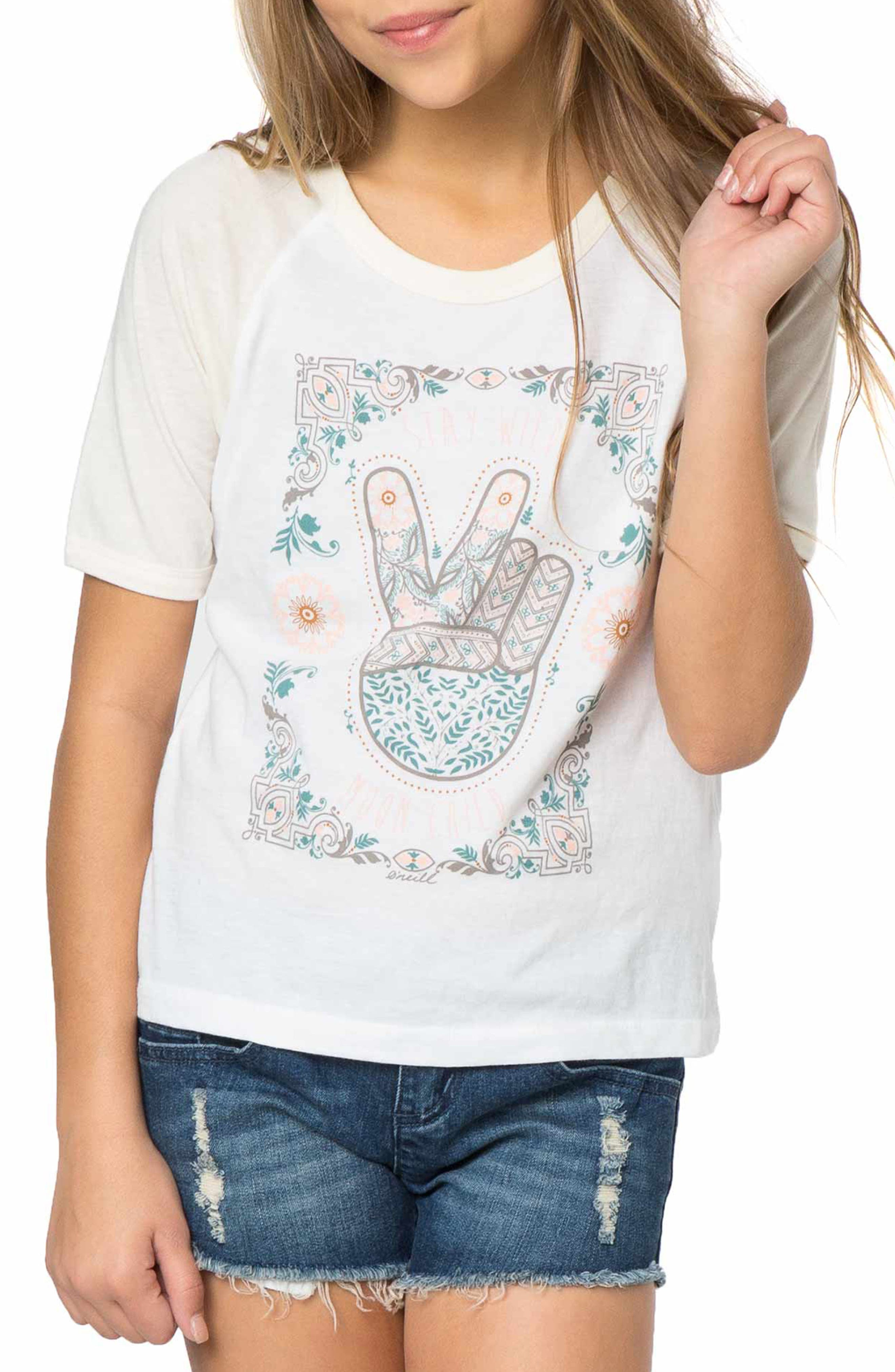 Alternate Image 1 Selected - O'Neill Stay Wild Moon Child Graphic Print Tee (Big Girls)