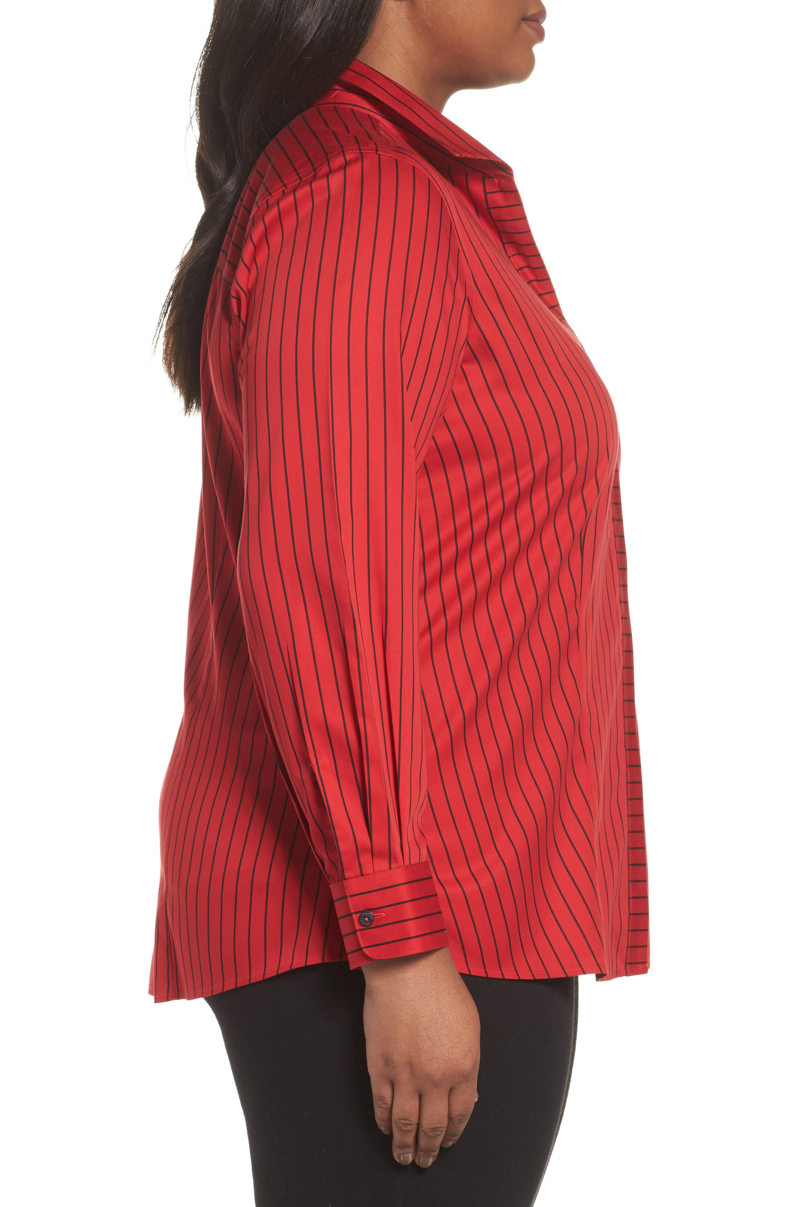 Alternate Image 3  - Foxcroft Annie Holiday Stripe Shirt (Plus Size)