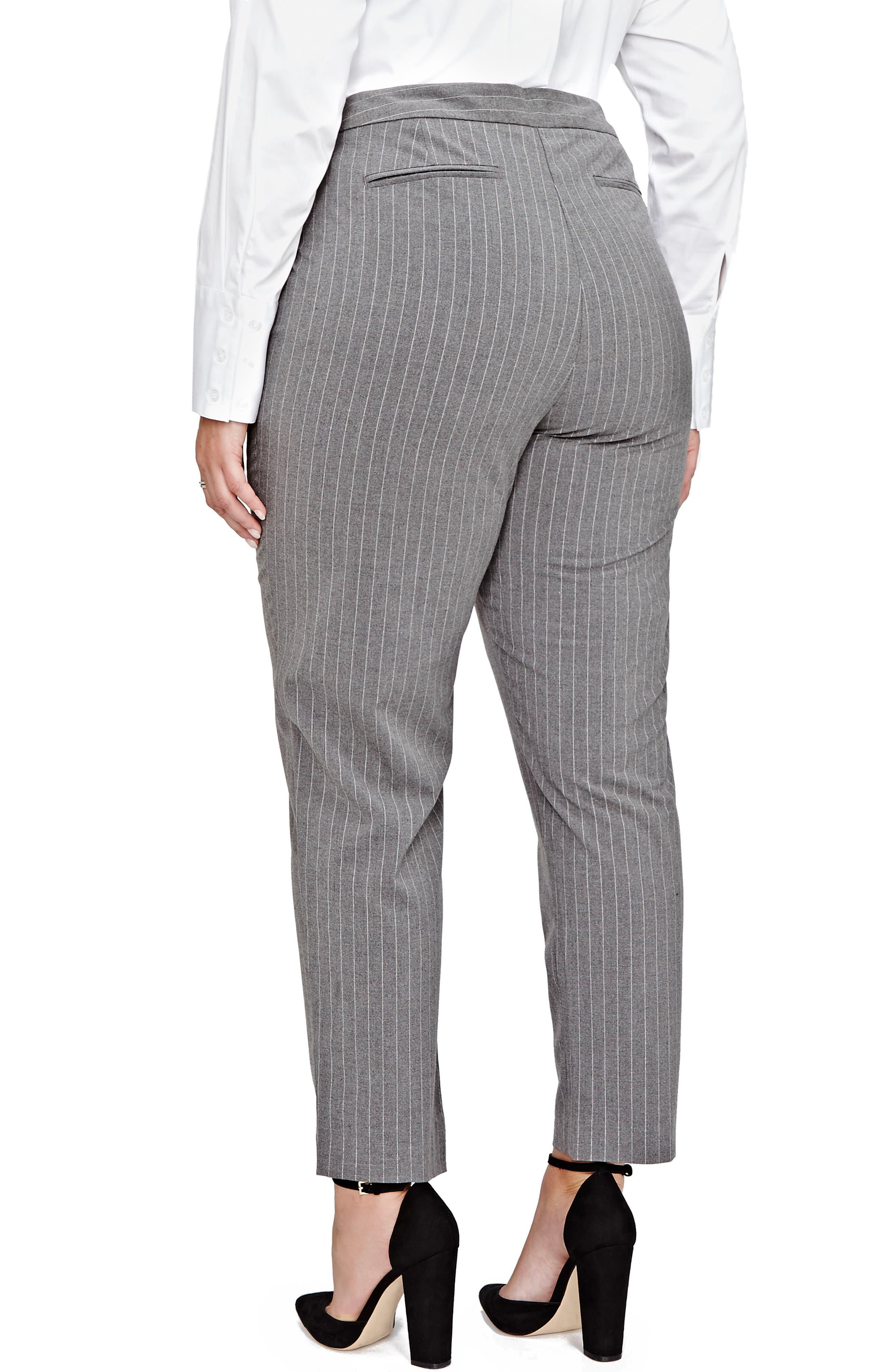 Pinstripe Cigarette Pants,                             Alternate thumbnail 2, color,                             Medium Grey Mix Combo