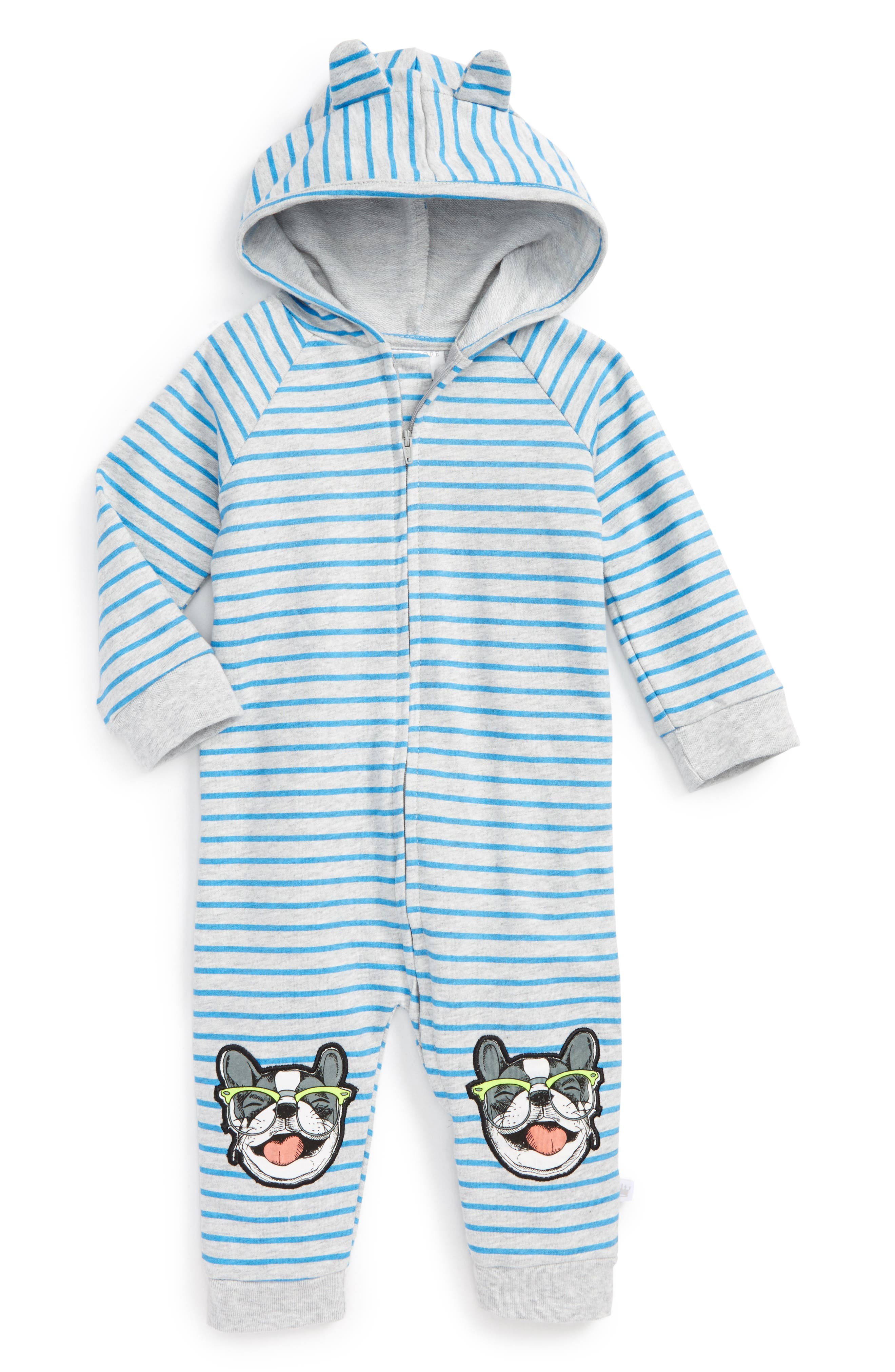 Main Image - Rosie Pope Puppy Hooded Romper (Baby Boys)