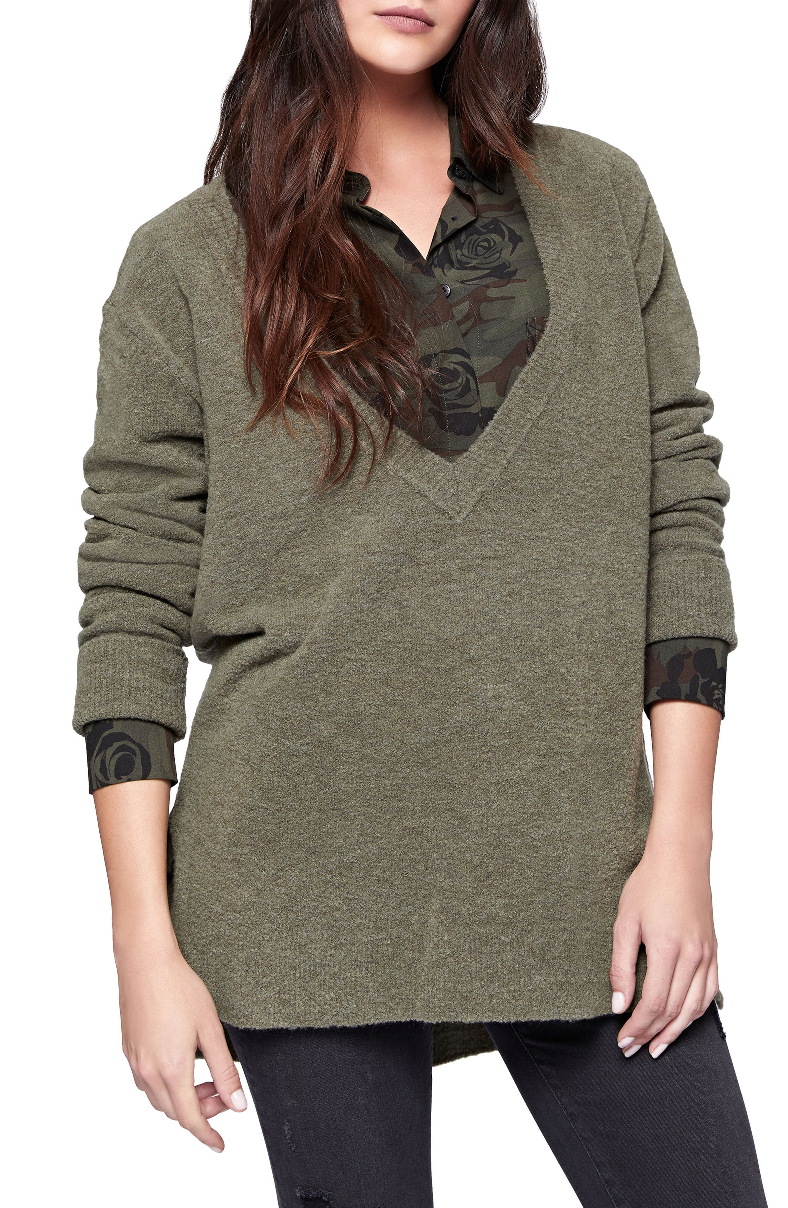 Santuary Delancey V-Neck Sweater,                             Main thumbnail 1, color,                             Fatigue