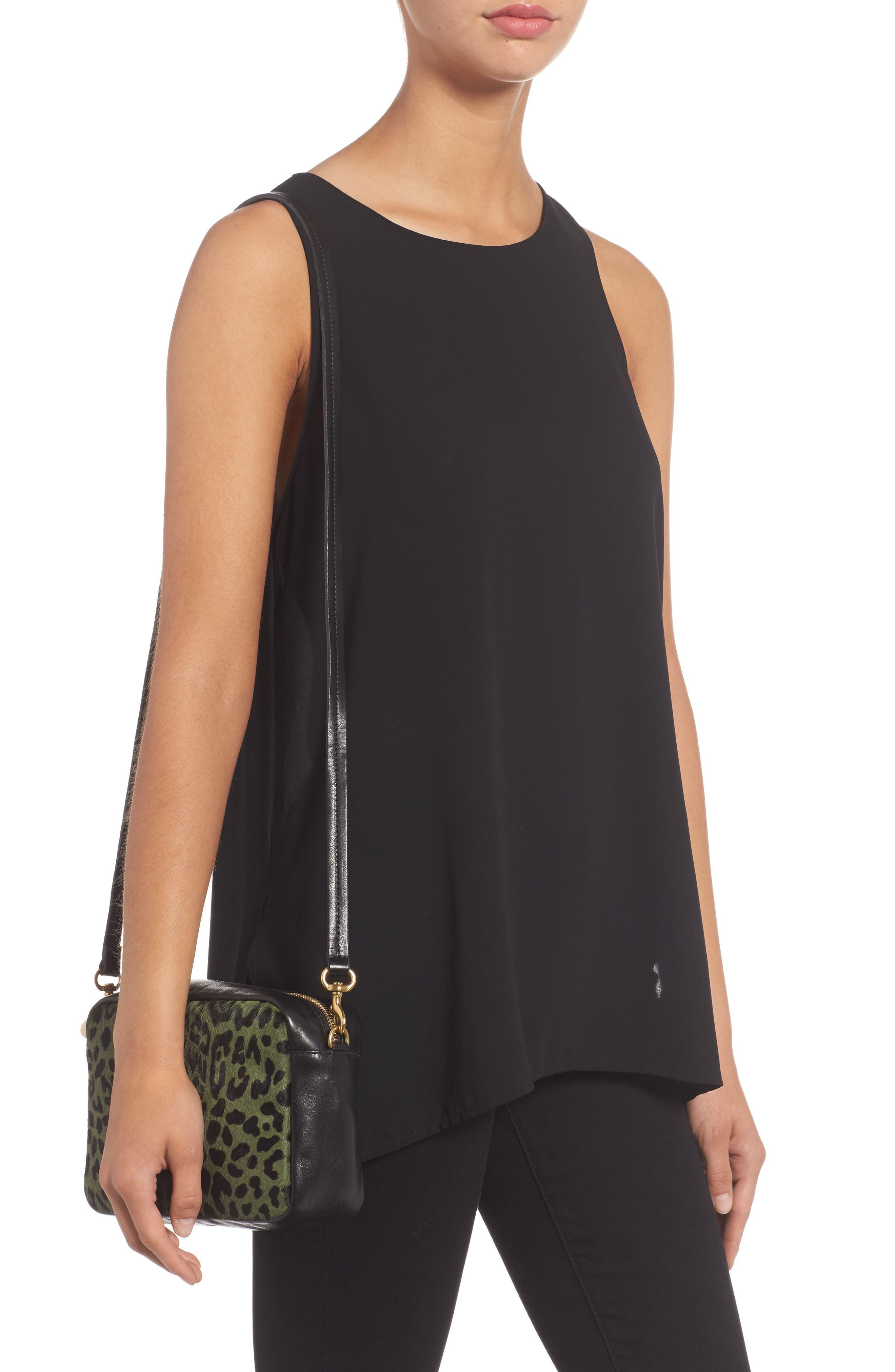 Midi Sac Leather & Genuine Calf Hair Shoulder Bag,                             Alternate thumbnail 2, color,                             Agave Leopard