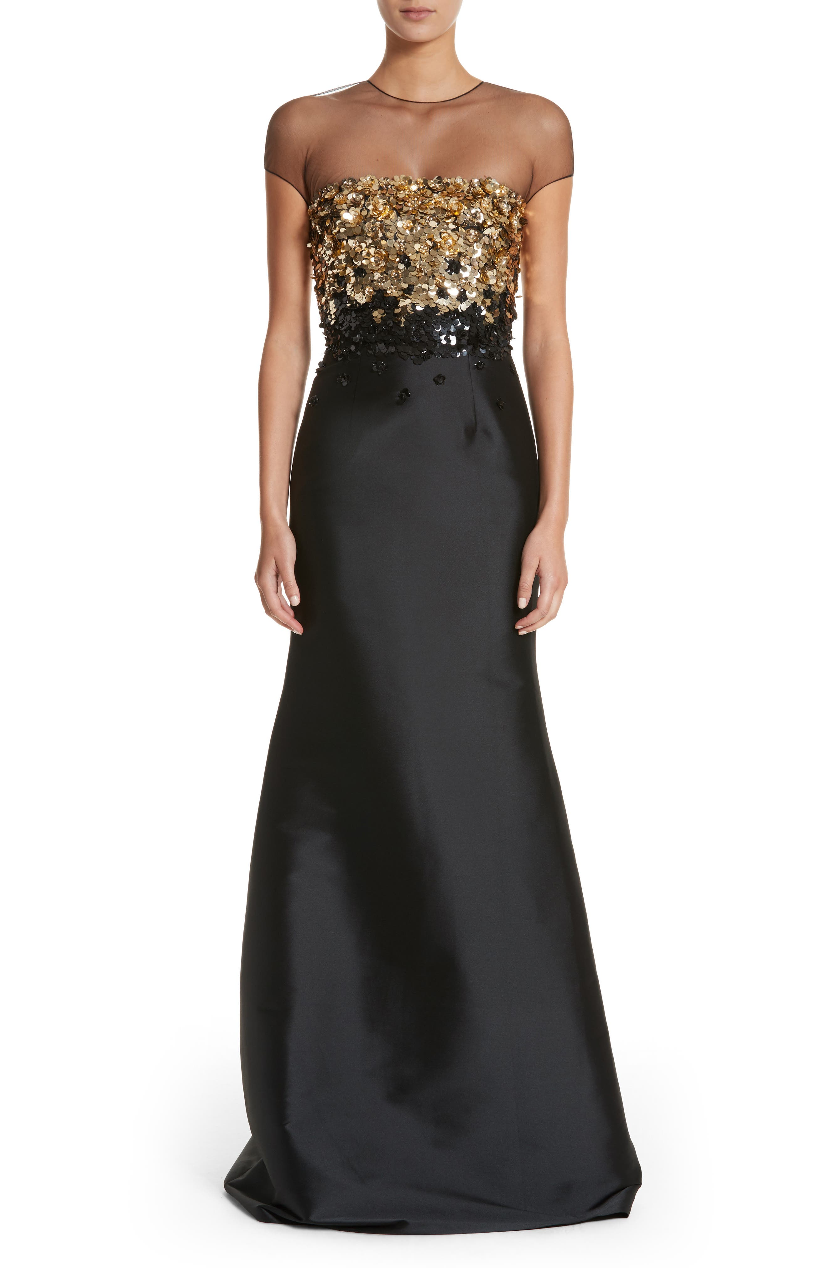 Embellished Mermaid Gown,                         Main,                         color, Jet