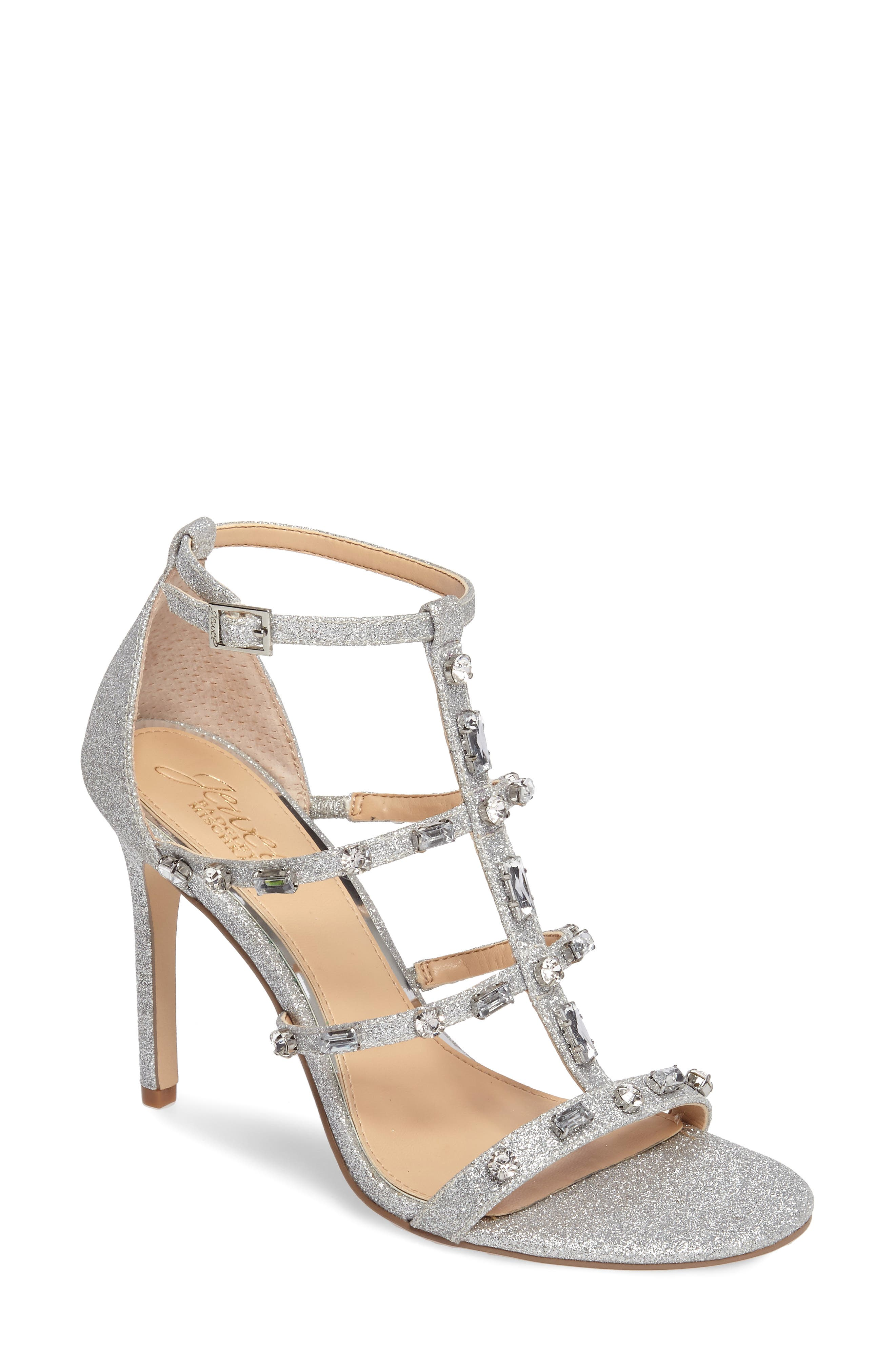 Jewel Badgley Mischka Adela Glittery Embellished Cage Sandal (Women)