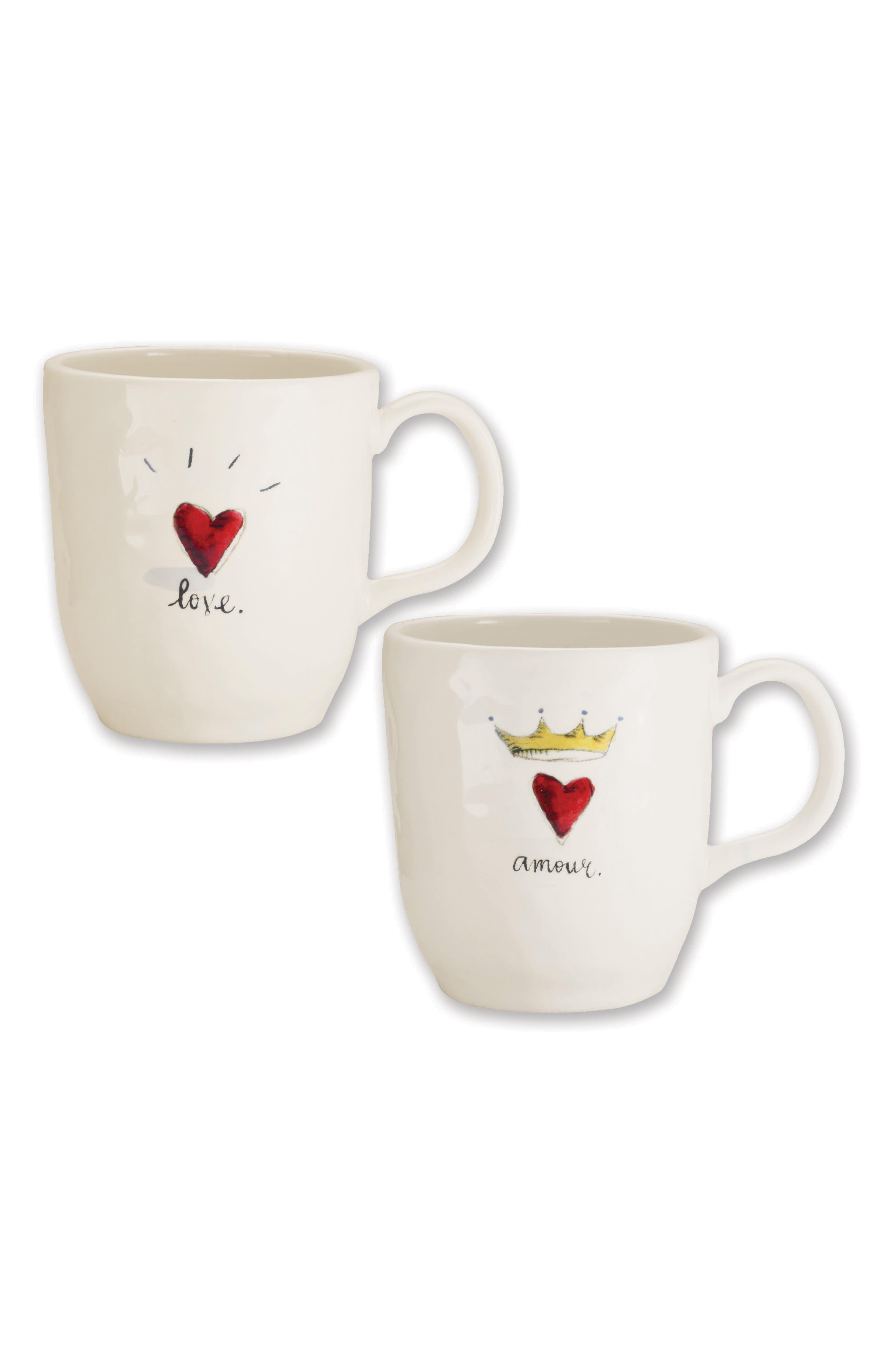Rae Dunn Love & Amour Set of 2 Ceramic Mugs