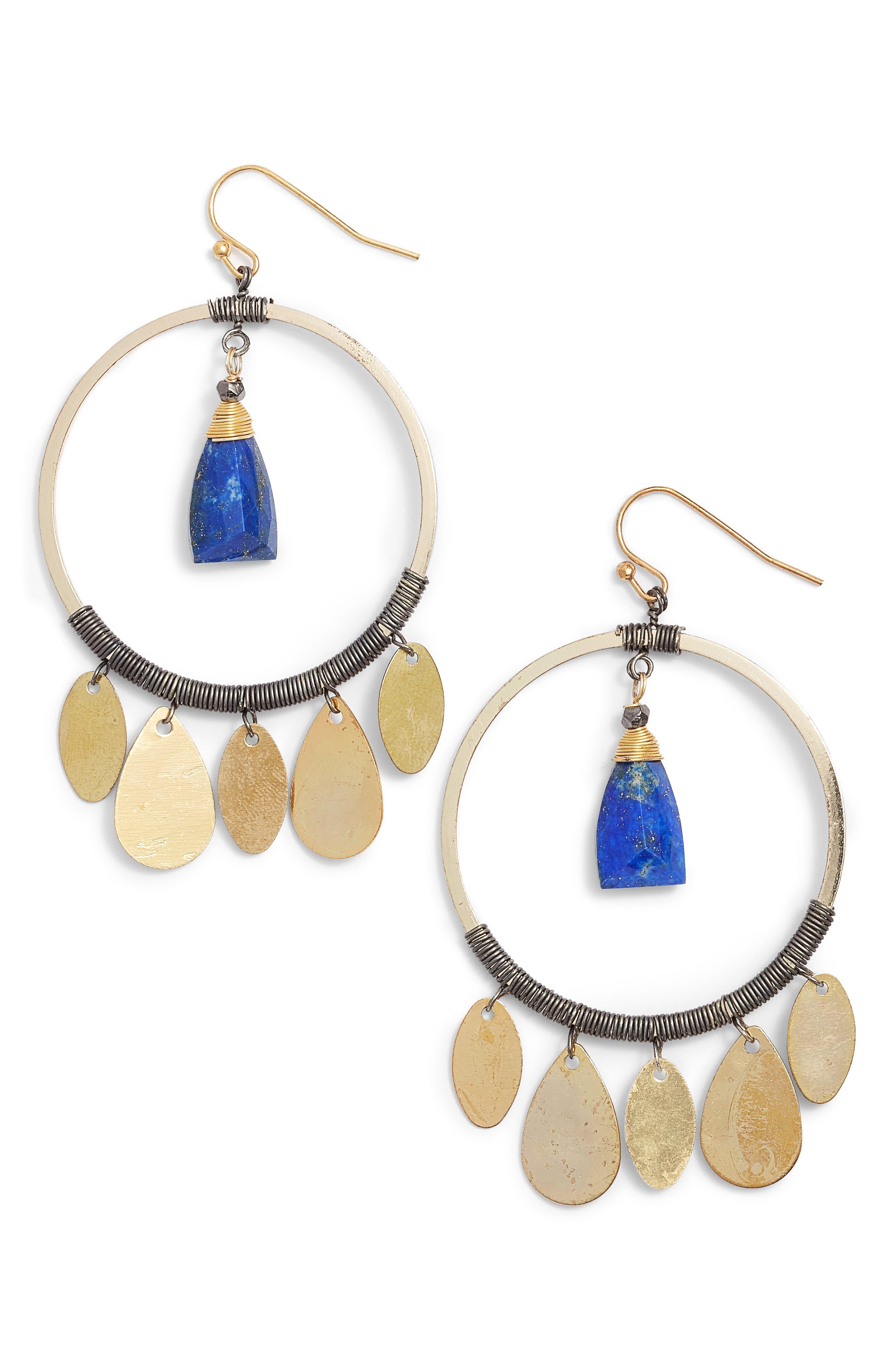 Hoop Drop Earrings,                         Main,                         color, Gold