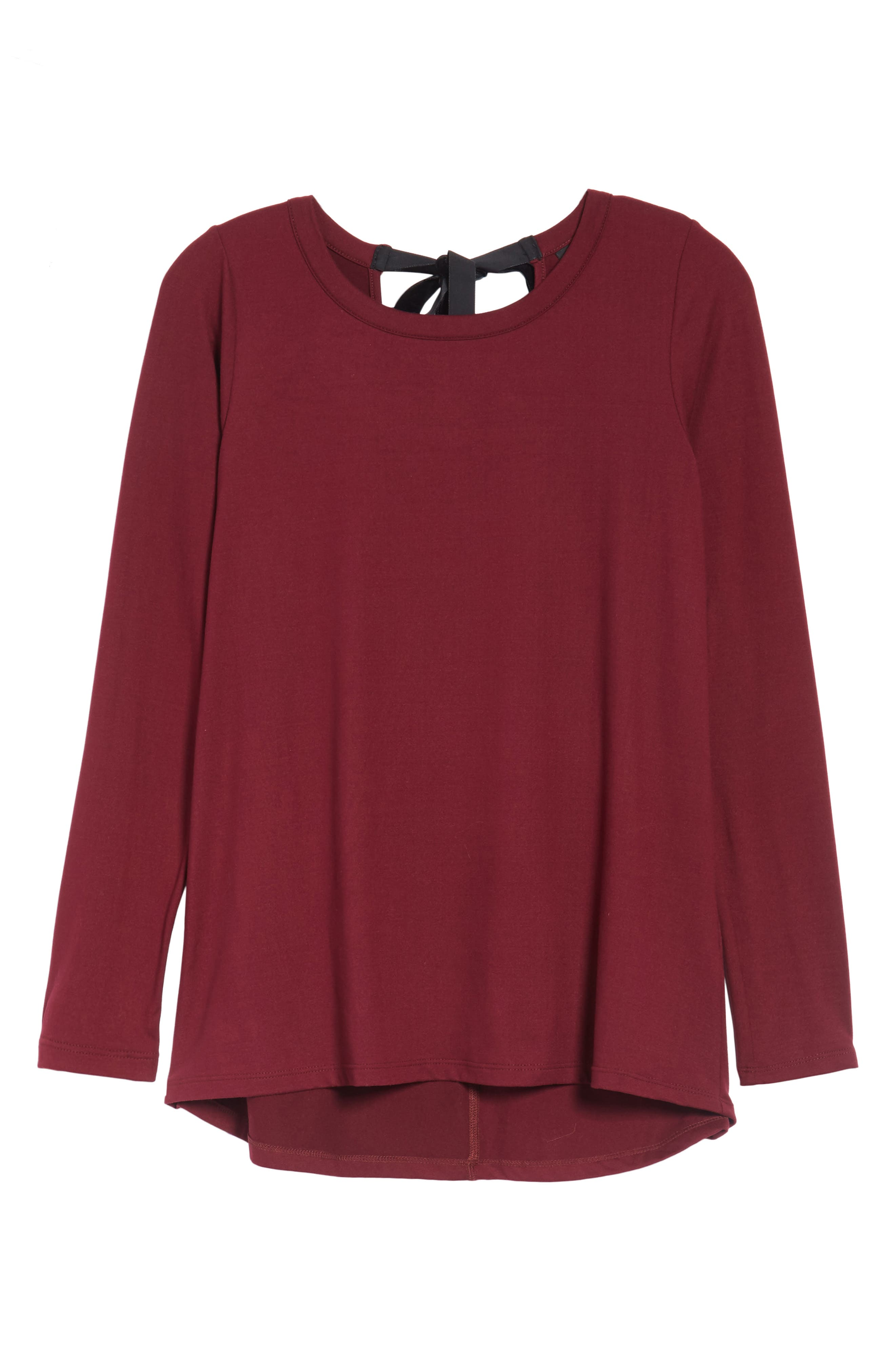 High/Low Bow Back Top,                             Alternate thumbnail 6, color,                             Burgundy
