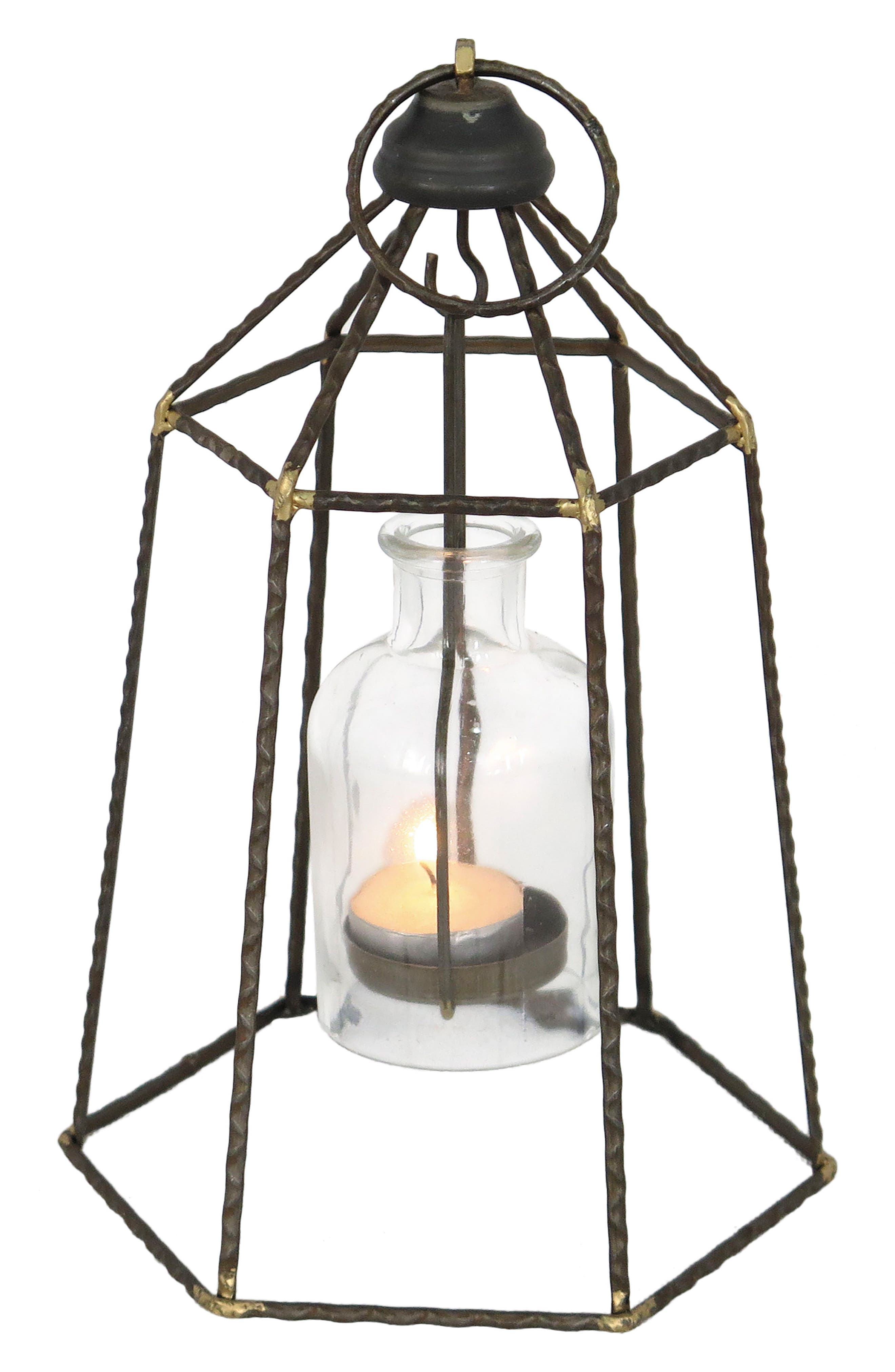 Small Pendant Votive Candle Holder,                         Main,                         color, Metal/ Glass