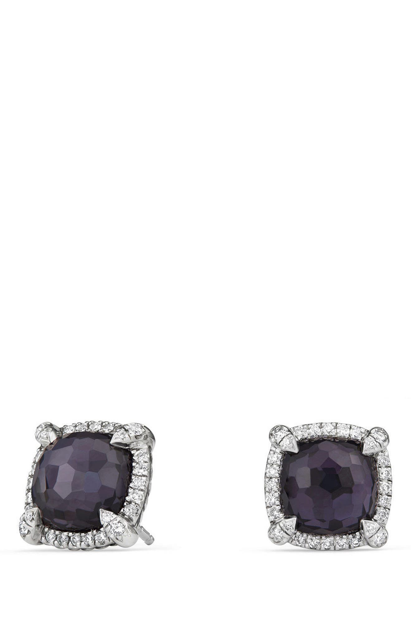Chatelaine Pavé Bezel Earring with Black Orchid and Diamonds, 9mm,                         Main,                         color, Amethyst/ Hemetine