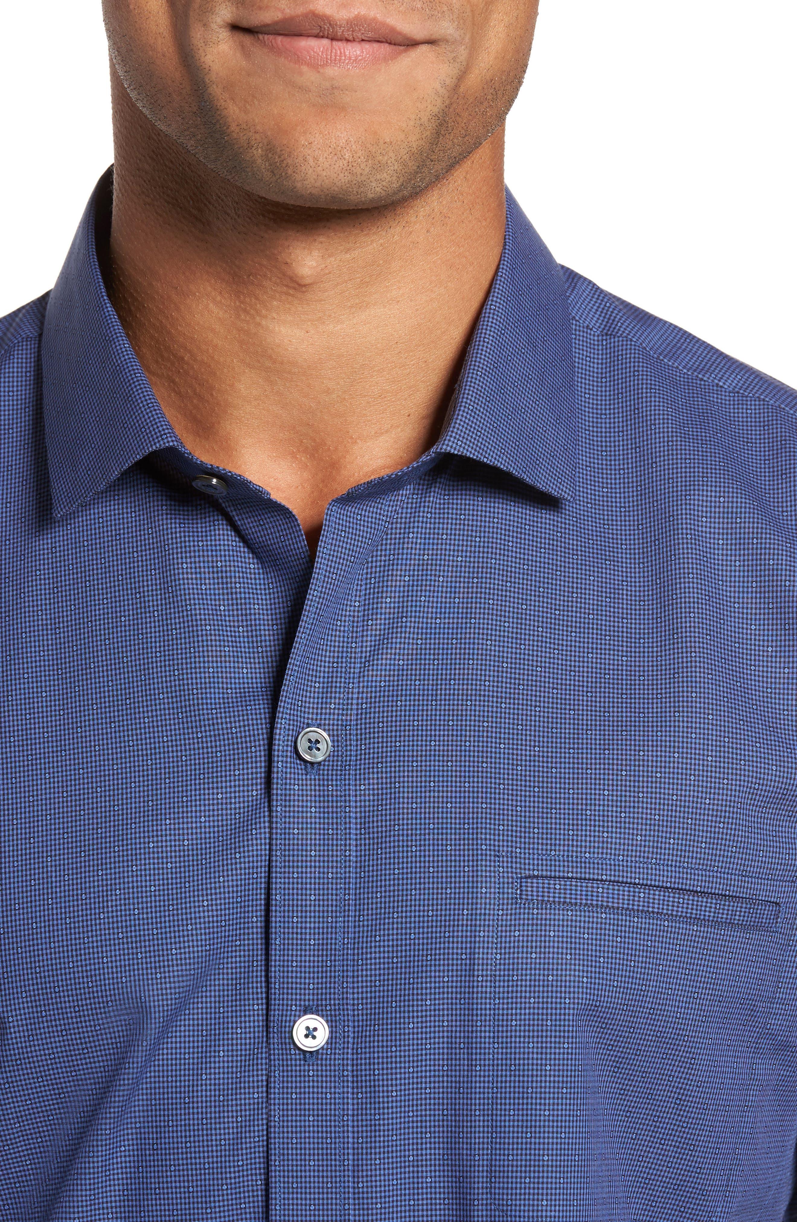 Galileo Dobby Microcheck Sport Shirt,                             Alternate thumbnail 4, color,                             Navy