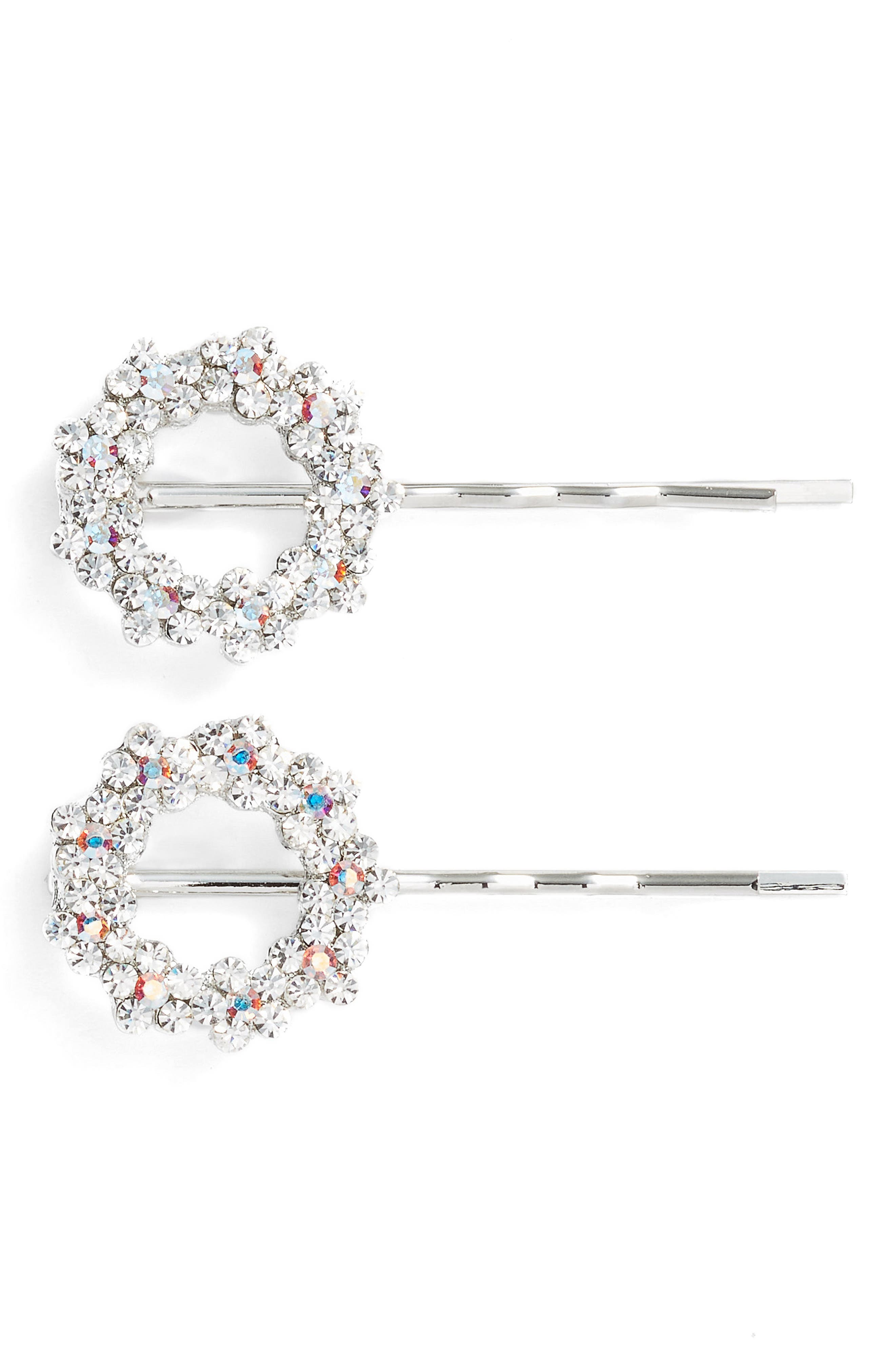 Set of 2 Crystal Flower Wreath Bobby Pins,                         Main,                         color, Silver