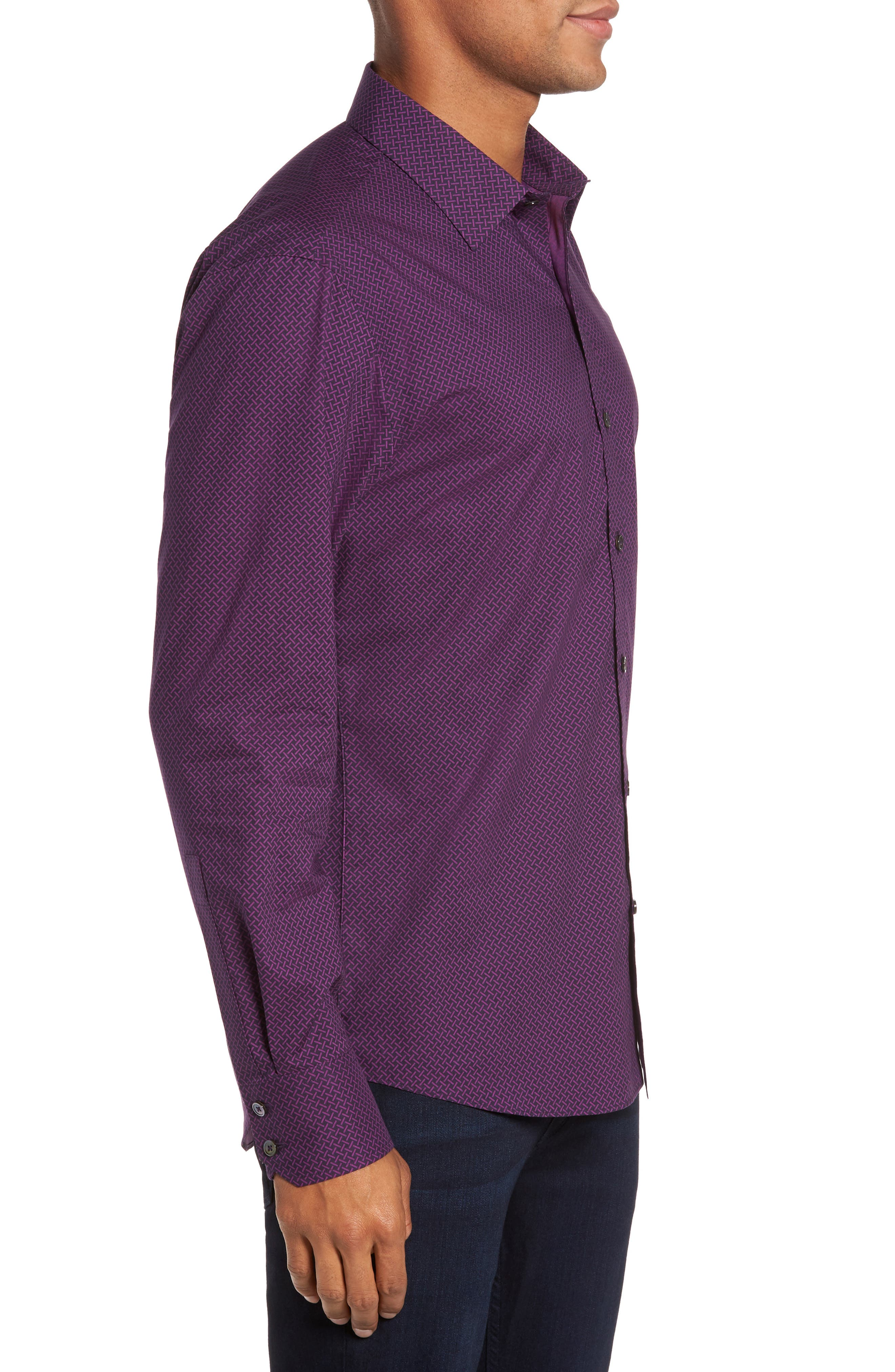 Dewyze Print Sport Shirt,                             Alternate thumbnail 3, color,                             Purple