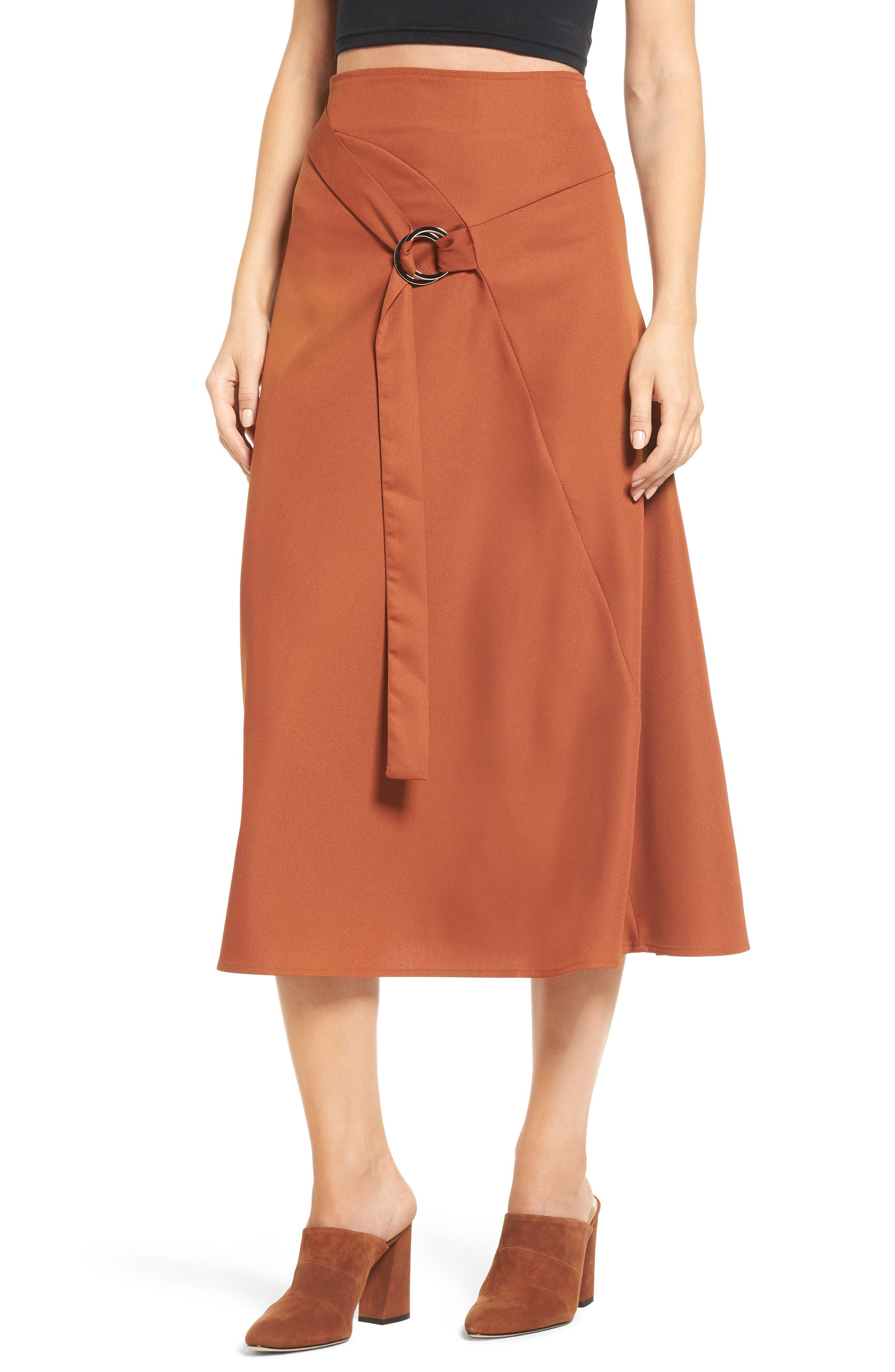 Belted Midi Skirt,                         Main,                         color, Dark Brown