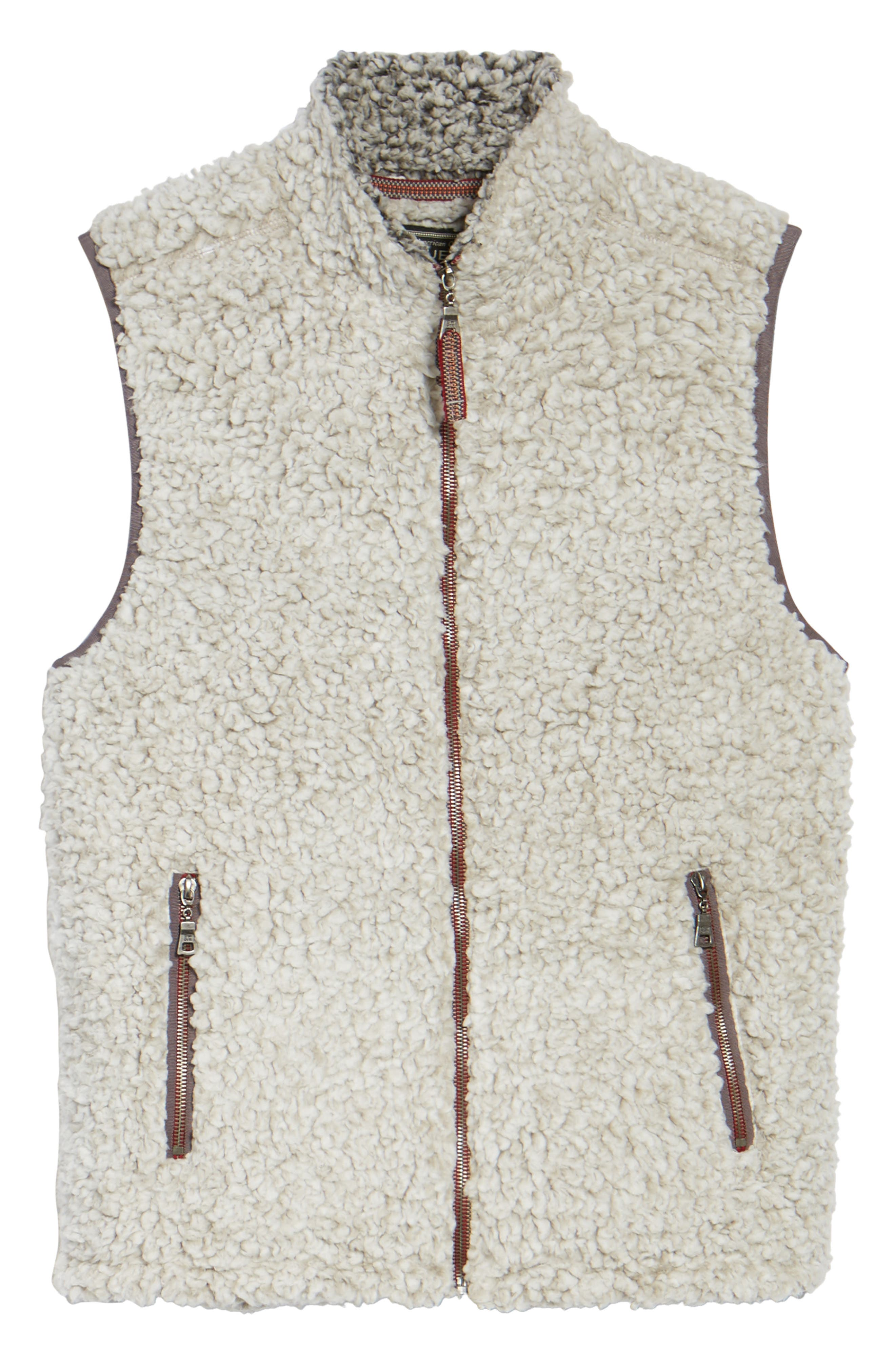 Double Up Frosty Tipped Faux Fur Vest,                             Alternate thumbnail 5, color,                             Putty