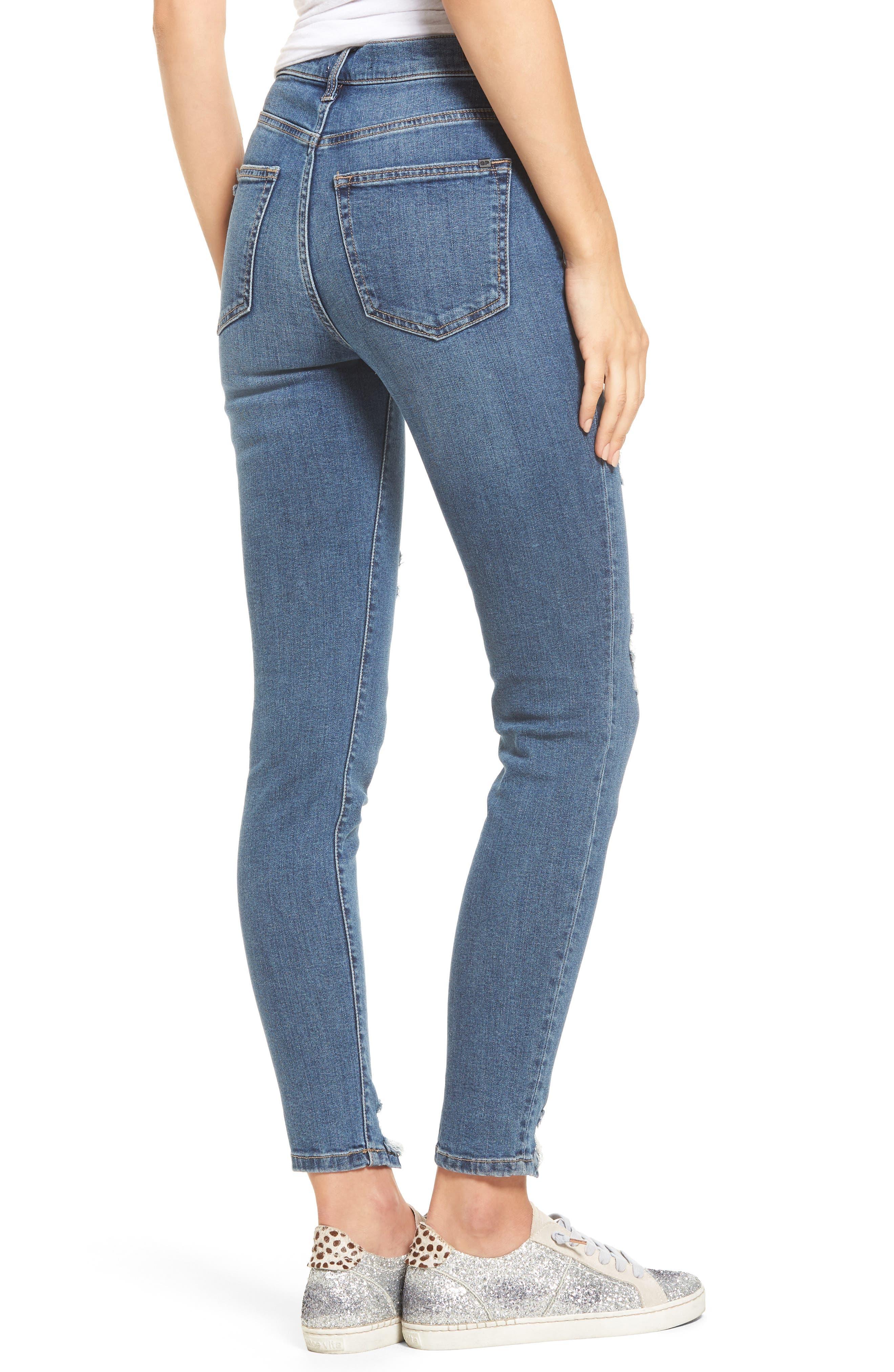High Waist Step Hem Skinny Jeans,                             Alternate thumbnail 2, color,                             Medium