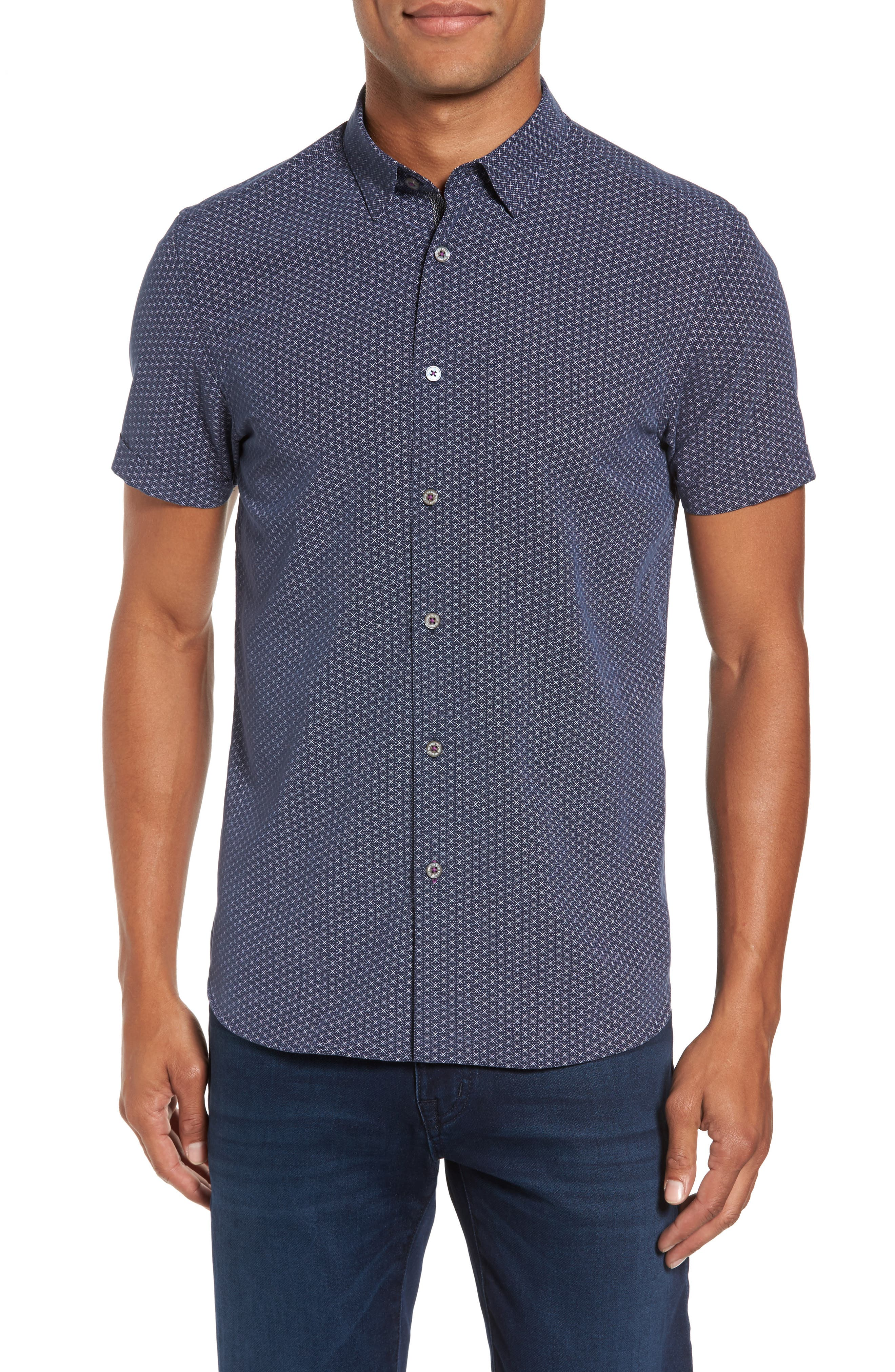 Ted Baker London Geo Polynosic Slim Fit Woven Shirt