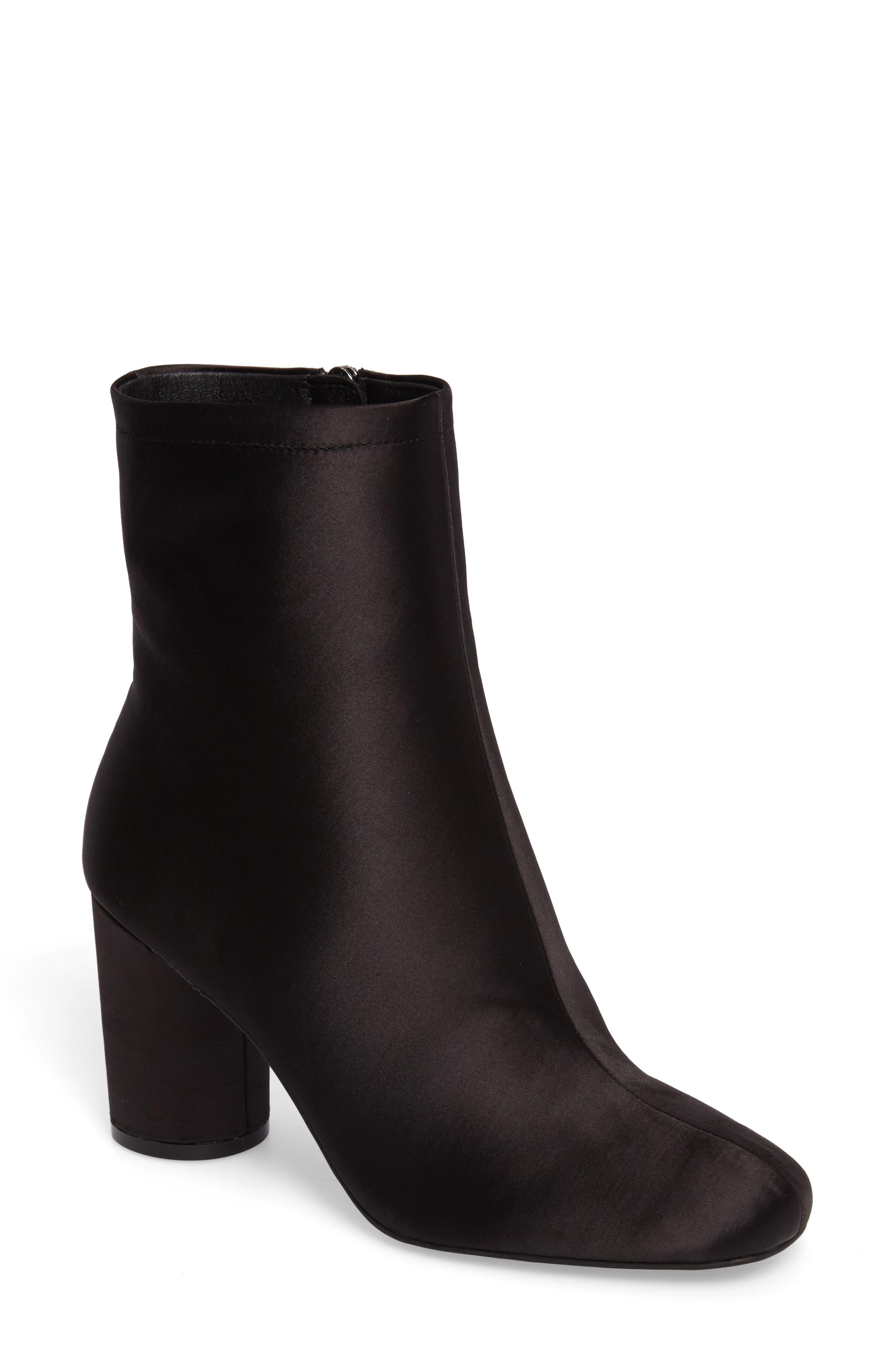 Merta Column Heel Bootie,                         Main,                         color, Black Satin